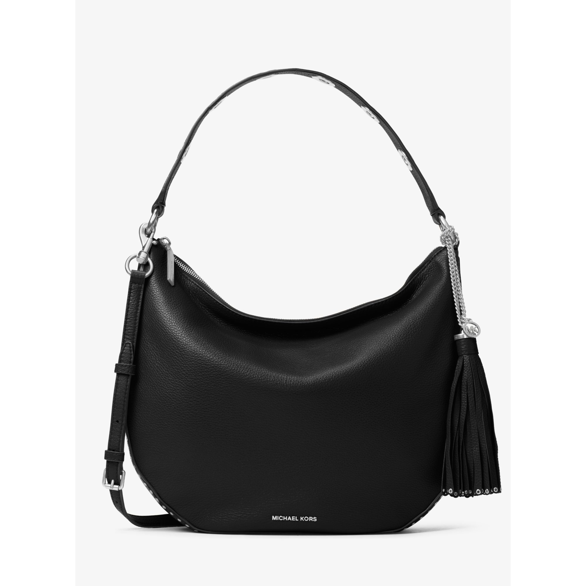 6d5e13c68fb0 Michael Kors Brooklyn Large Convertible Leather Hobo in Black - Lyst