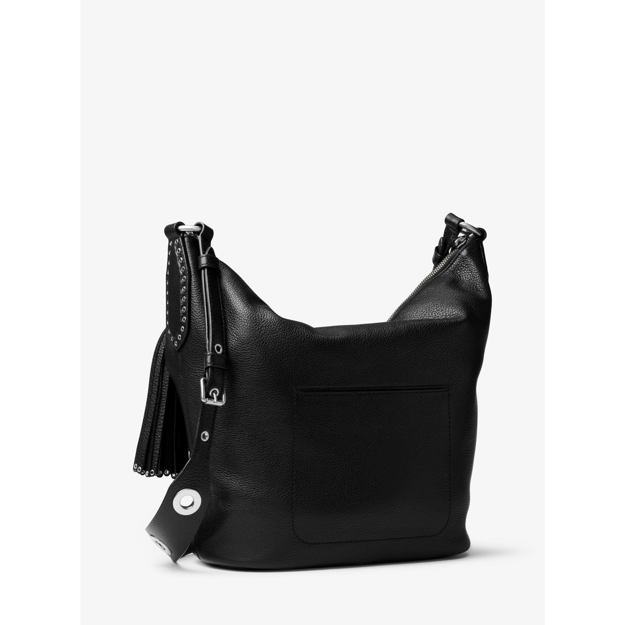 b7577eea12f6 Lyst - Michael Kors Brooklyn Large Leather Feed Bag in Black