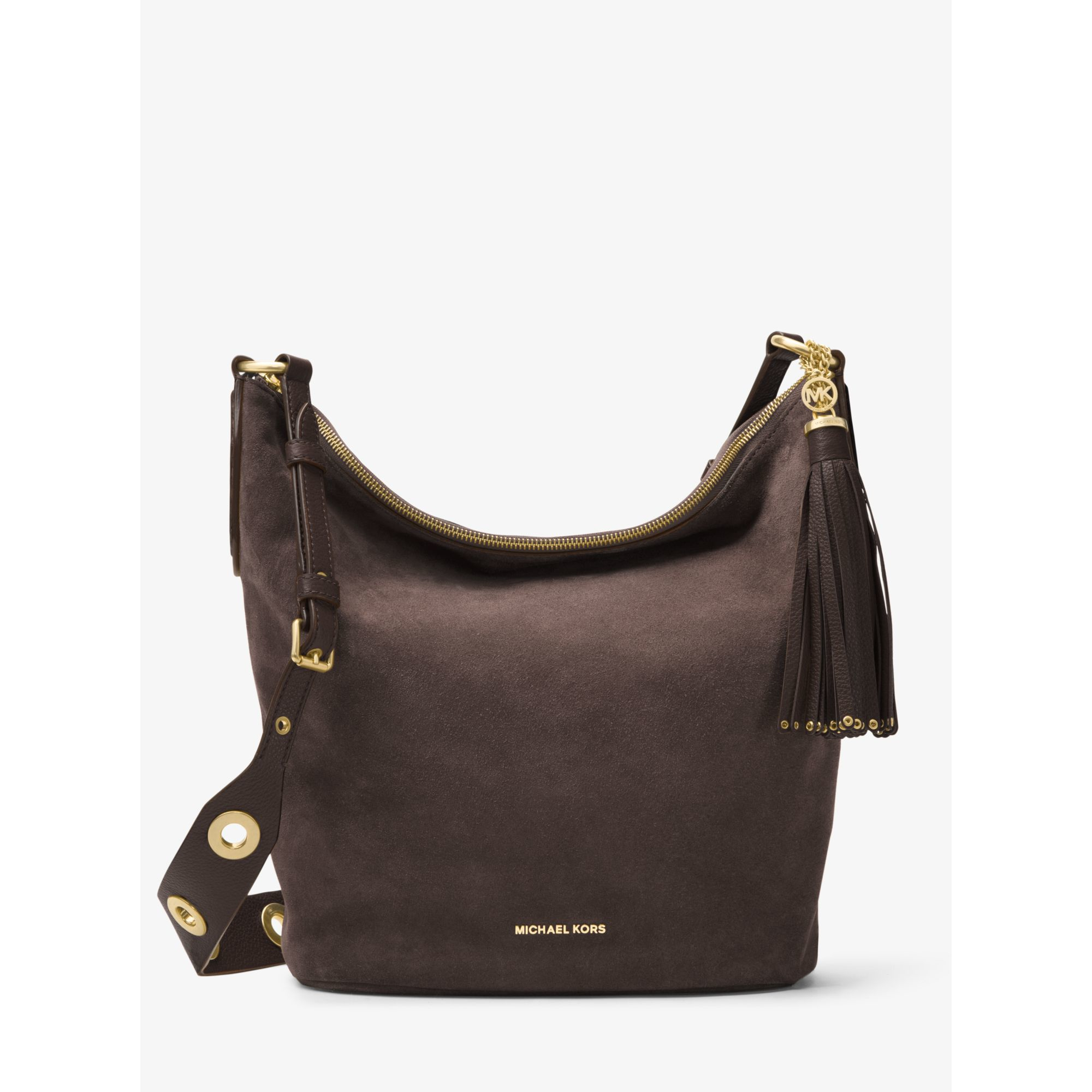 470adcb4a485 Michael Kors Brooklyn Large Grommet Suede Feed Bag - Lyst