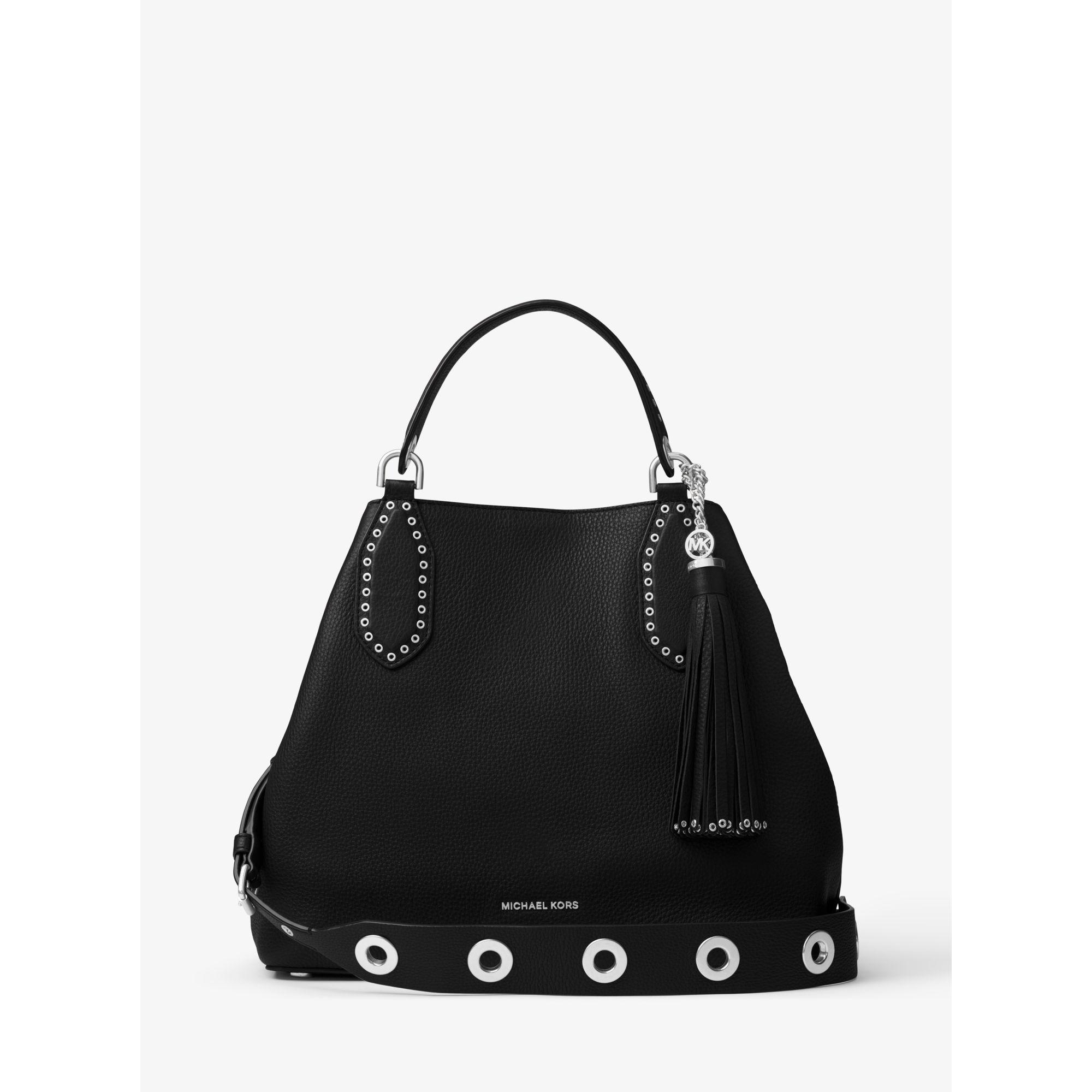 67f29f356f4e39 Michael Kors Black Brooklyn Large Leather Shoulder Bag | Stanford ...