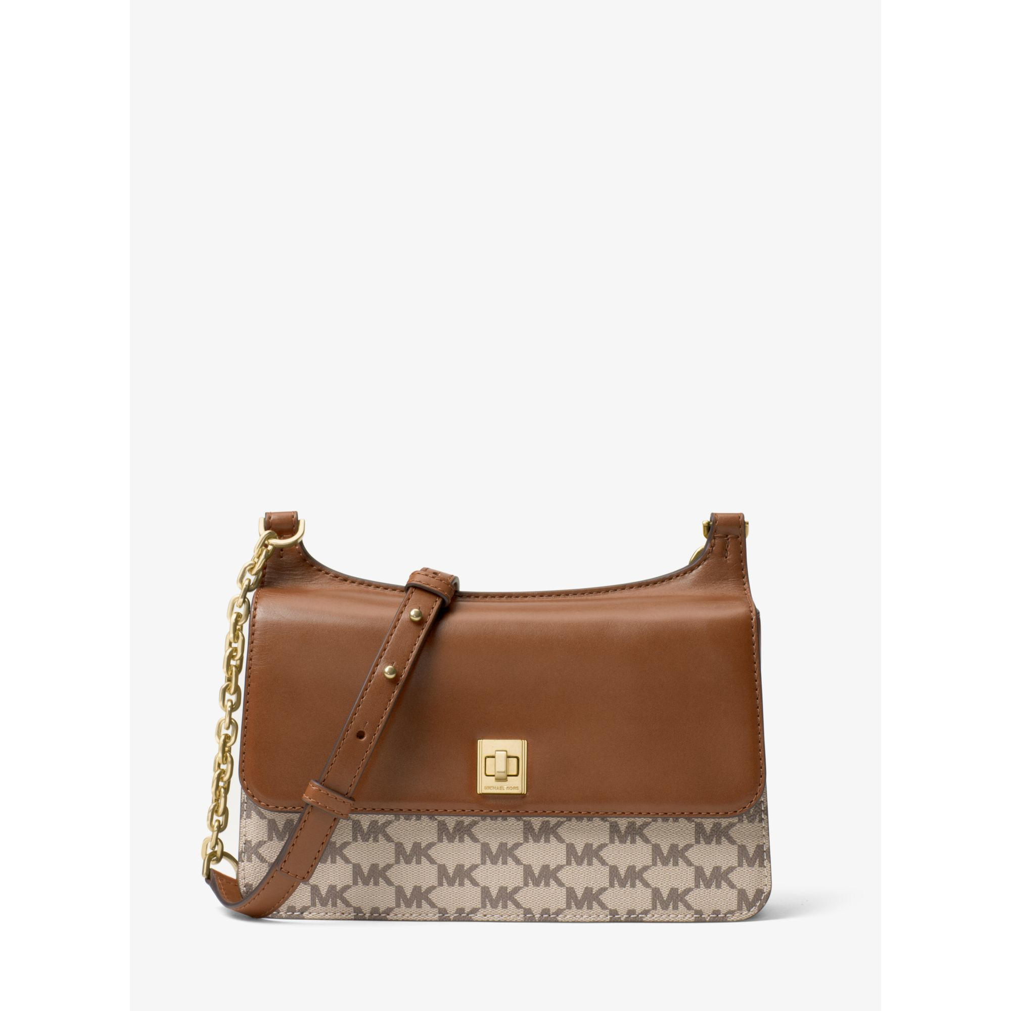 618d41bb9665 Michael Kors Natalie Medium Heritage Signature Messenger in Natural ...