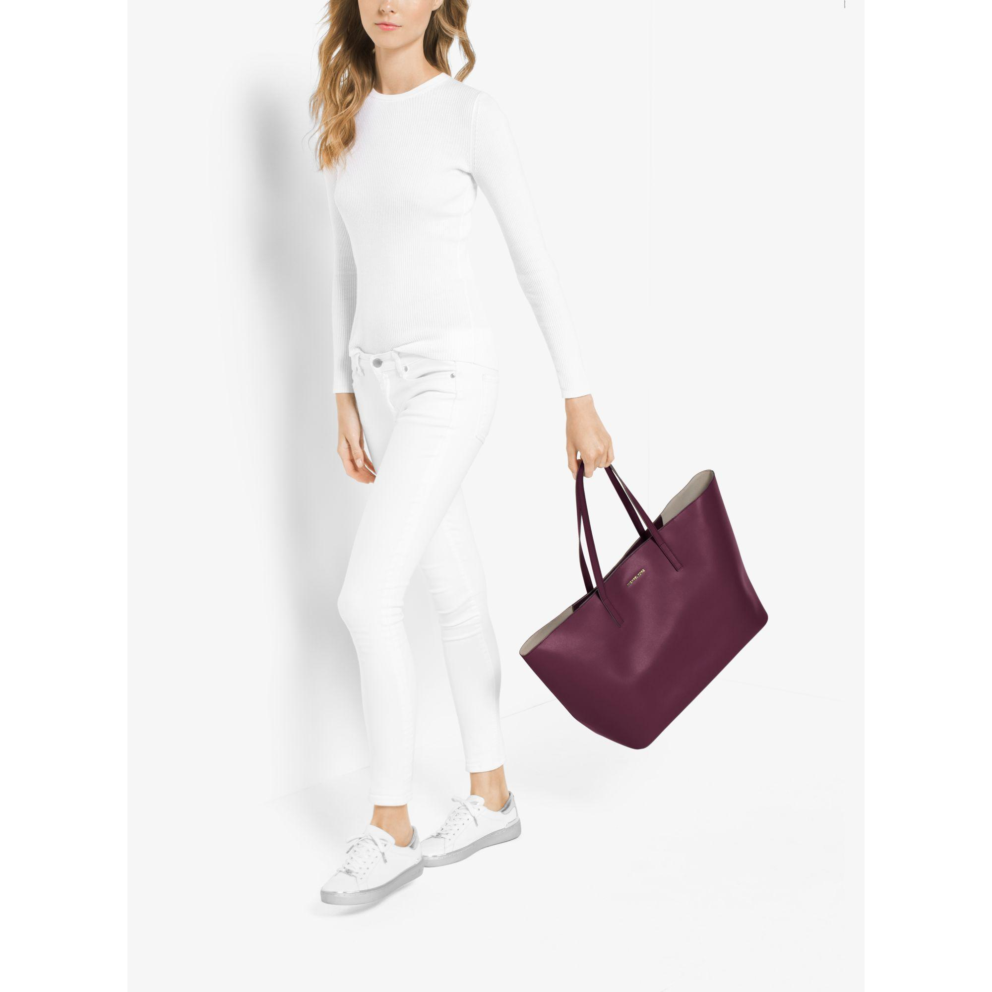56c7176d87e5 Lyst - Michael Kors Emry Extra-large Leather Tote in Purple