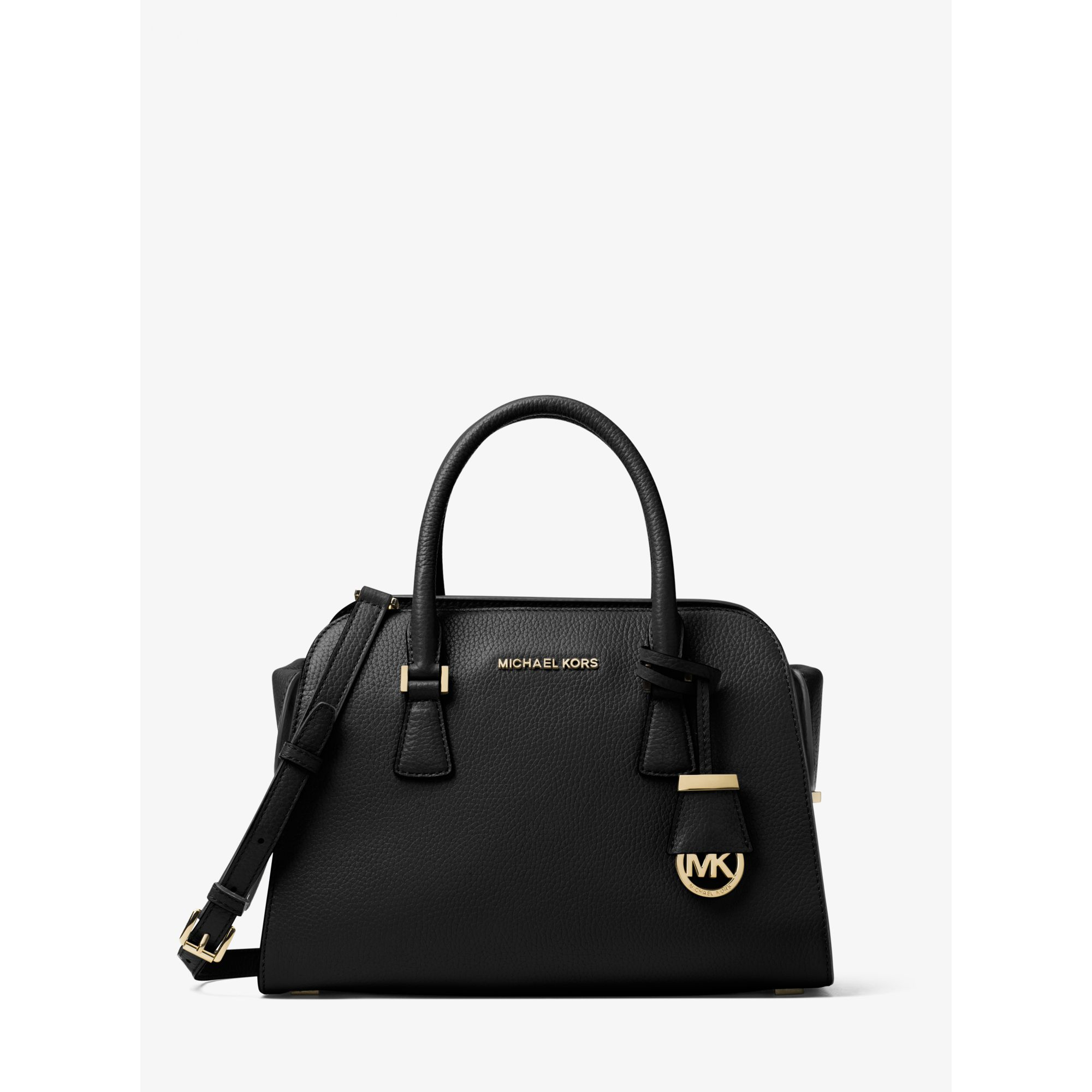 659b67b6dd50 Lyst - Michael Kors Harper Medium Leather Satchel in Black