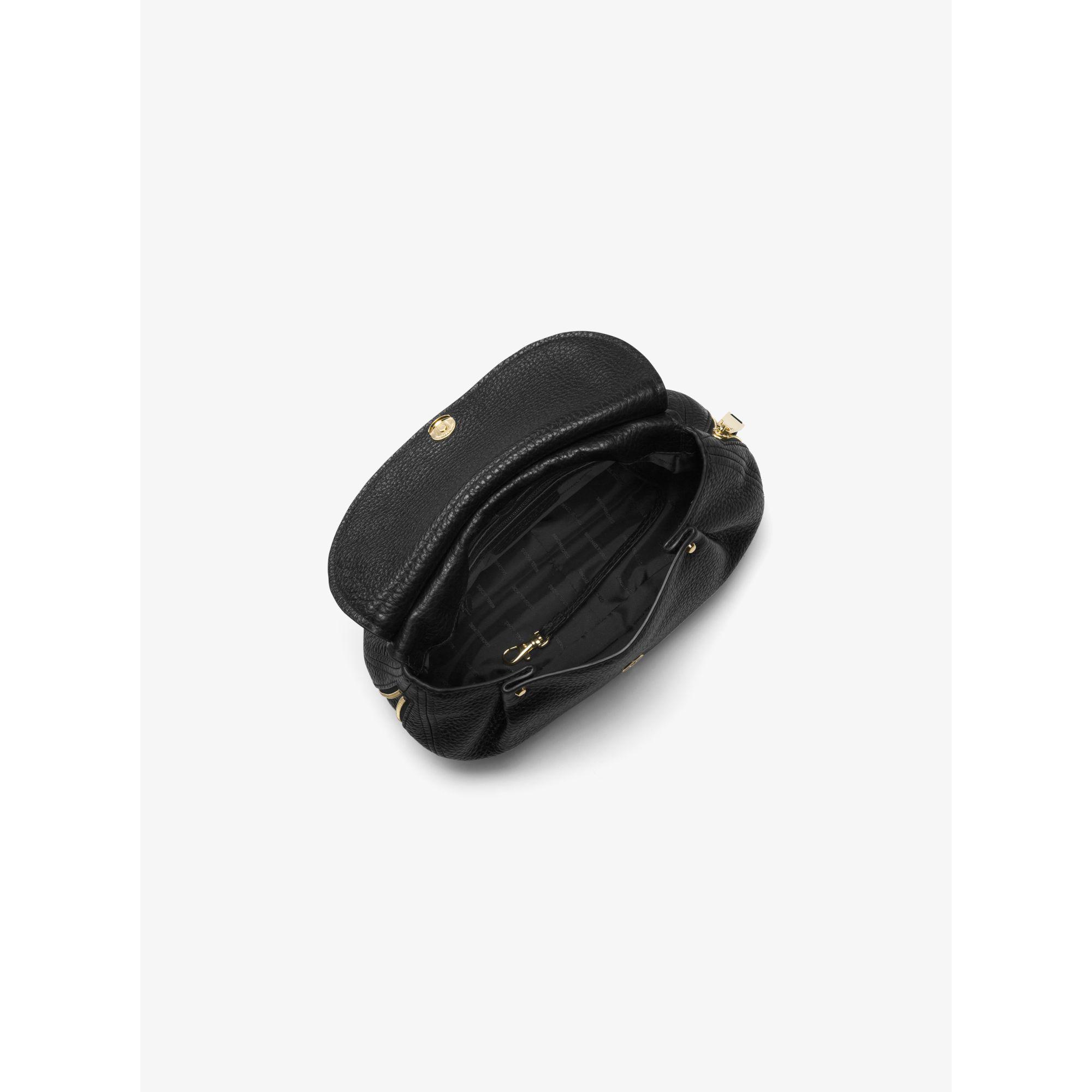 89b2b3238d1b Lyst - Michael Kors Viv Medium Leather Messenger in Black