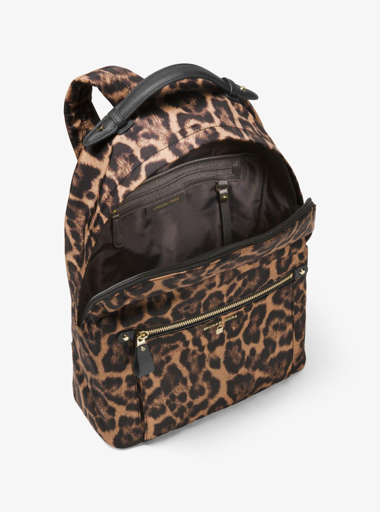 4cd277cc046e ... cheapest lyst michael kors kelsey leopard nylon backpack a2ab8 ccd60