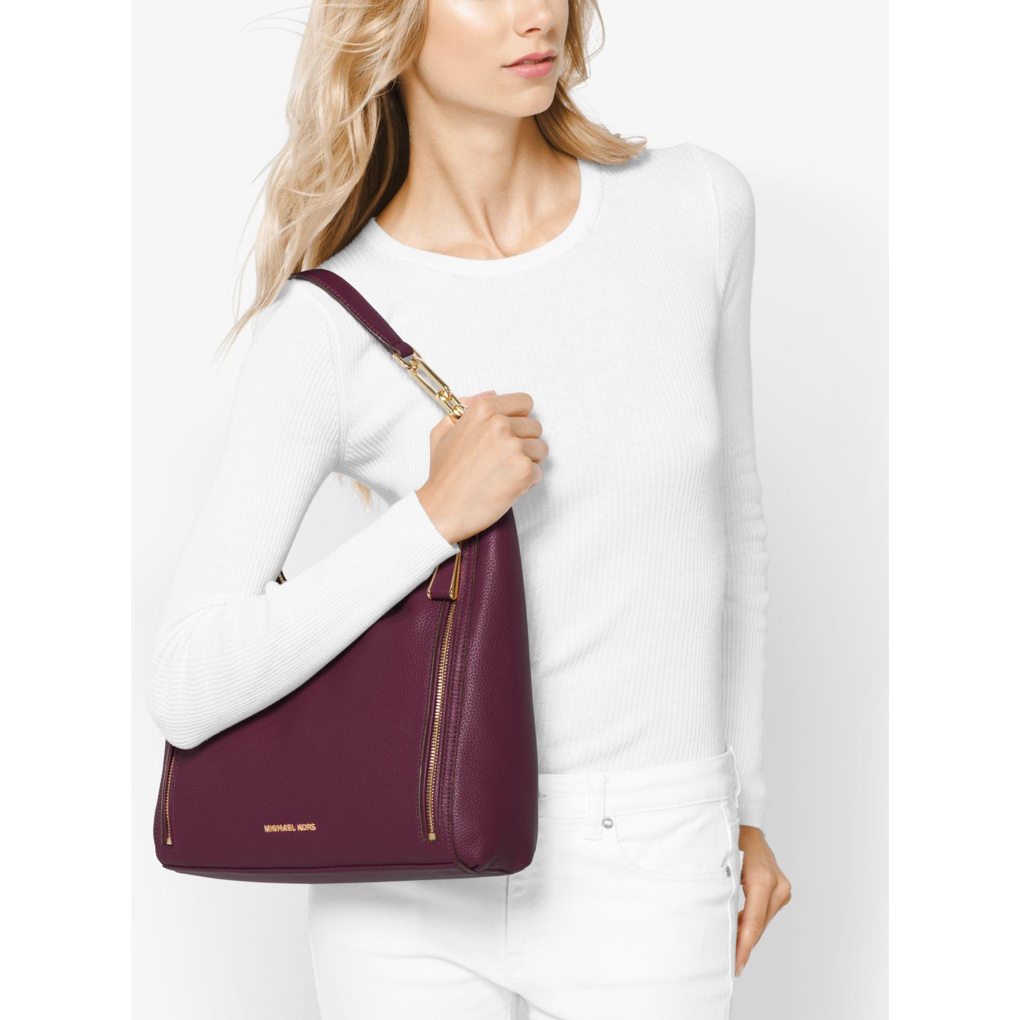 ... Michael kors Matilda Large Leather Shoulder Bag in Purple ... 8d82f193d2af4