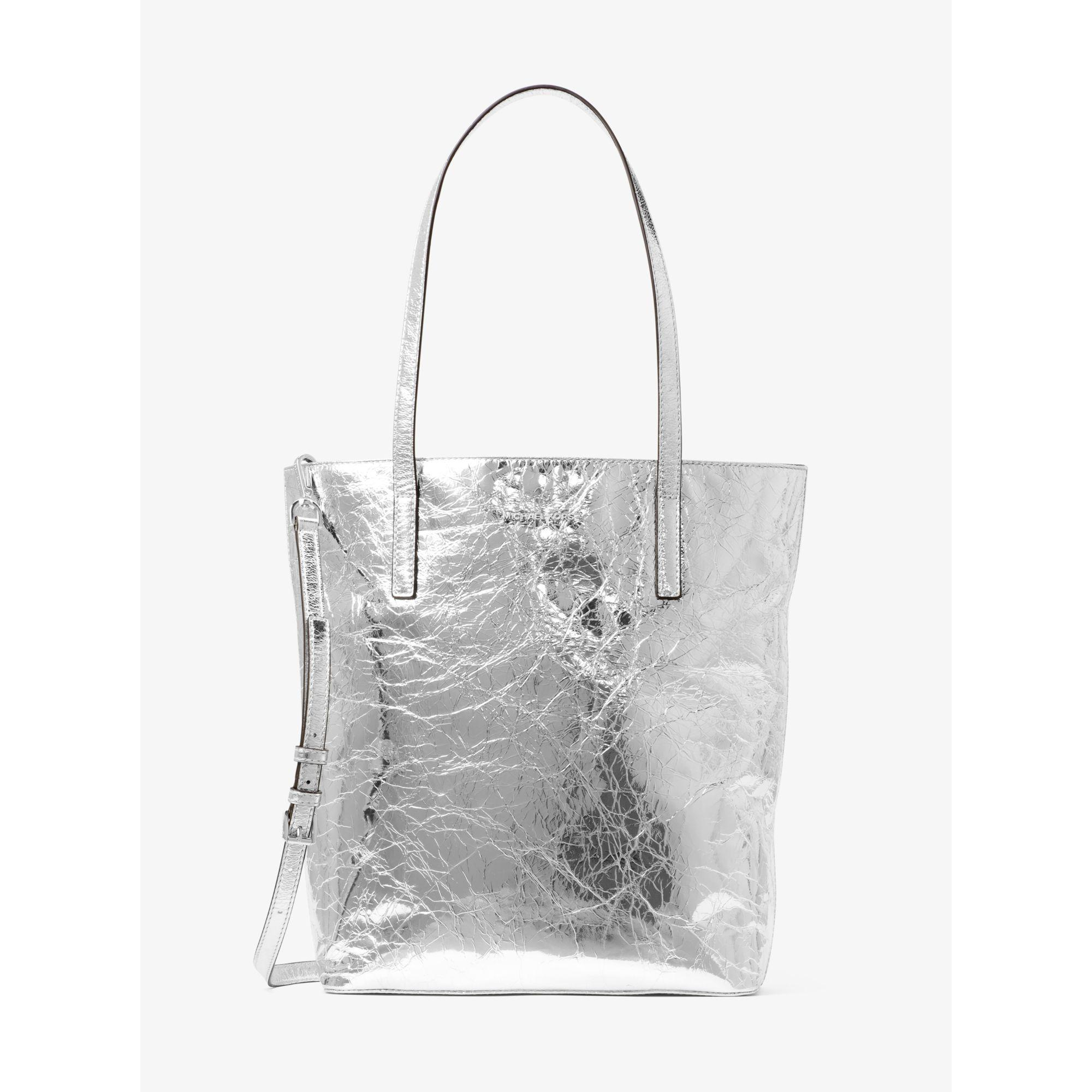 bab0da06c3f2 Lyst - Michael Kors Emry Large Crinkled-leather Tote Bag in Metallic