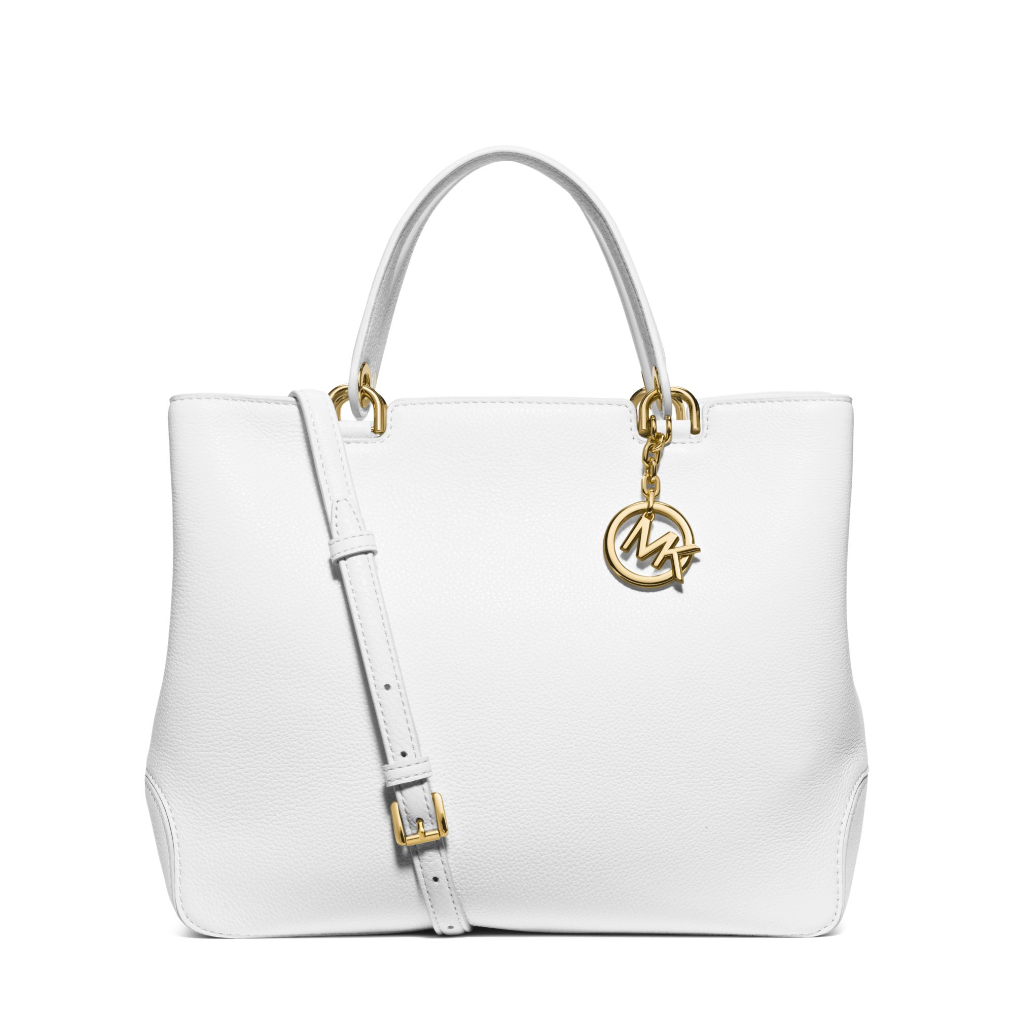 83f39201df6e ... inexpensive lyst michael kors anabelle large leather tote in white  c0bd6 b0920