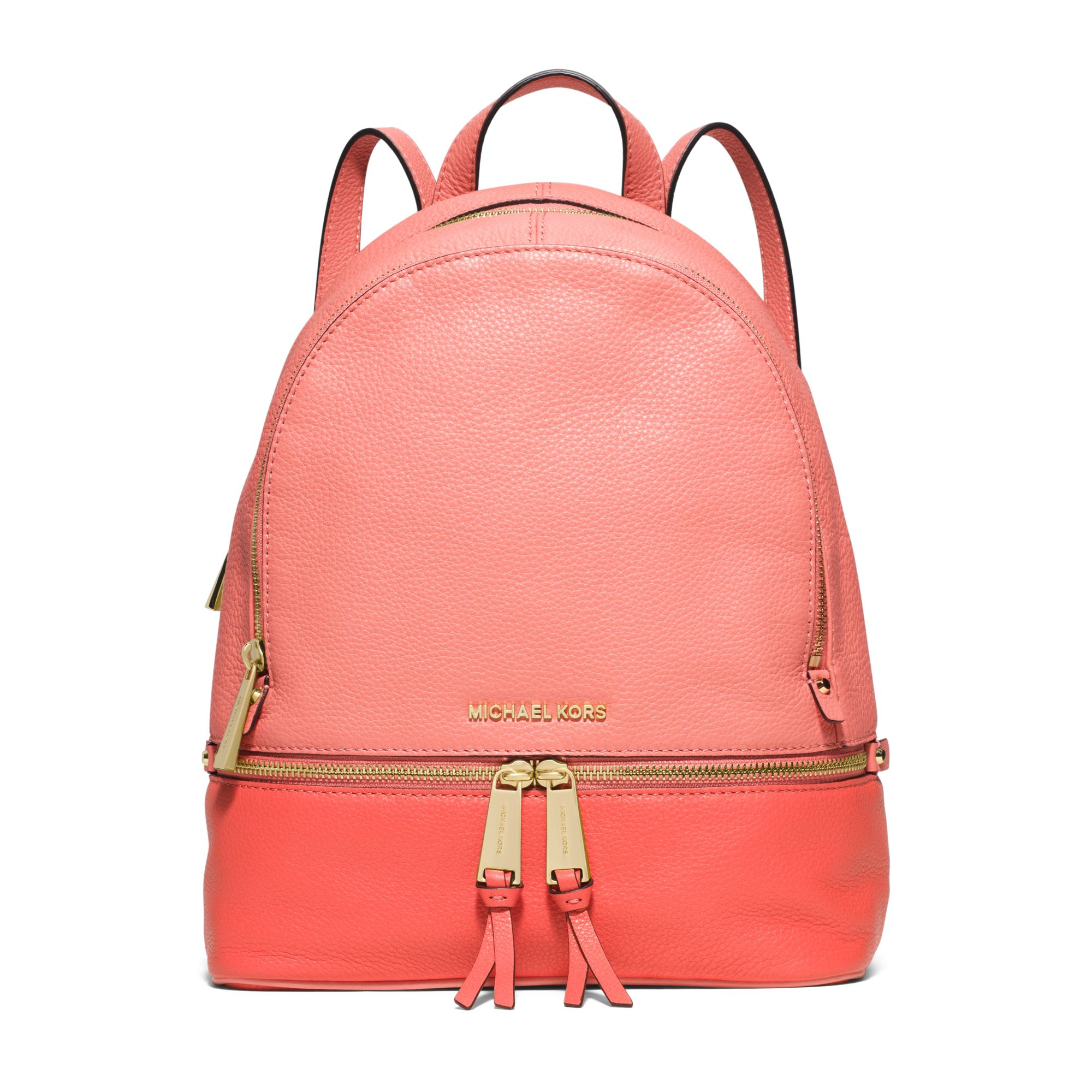 e11acda983a0 Lyst - Michael Kors Rhea Medium Color-block Leather Backpack in Pink