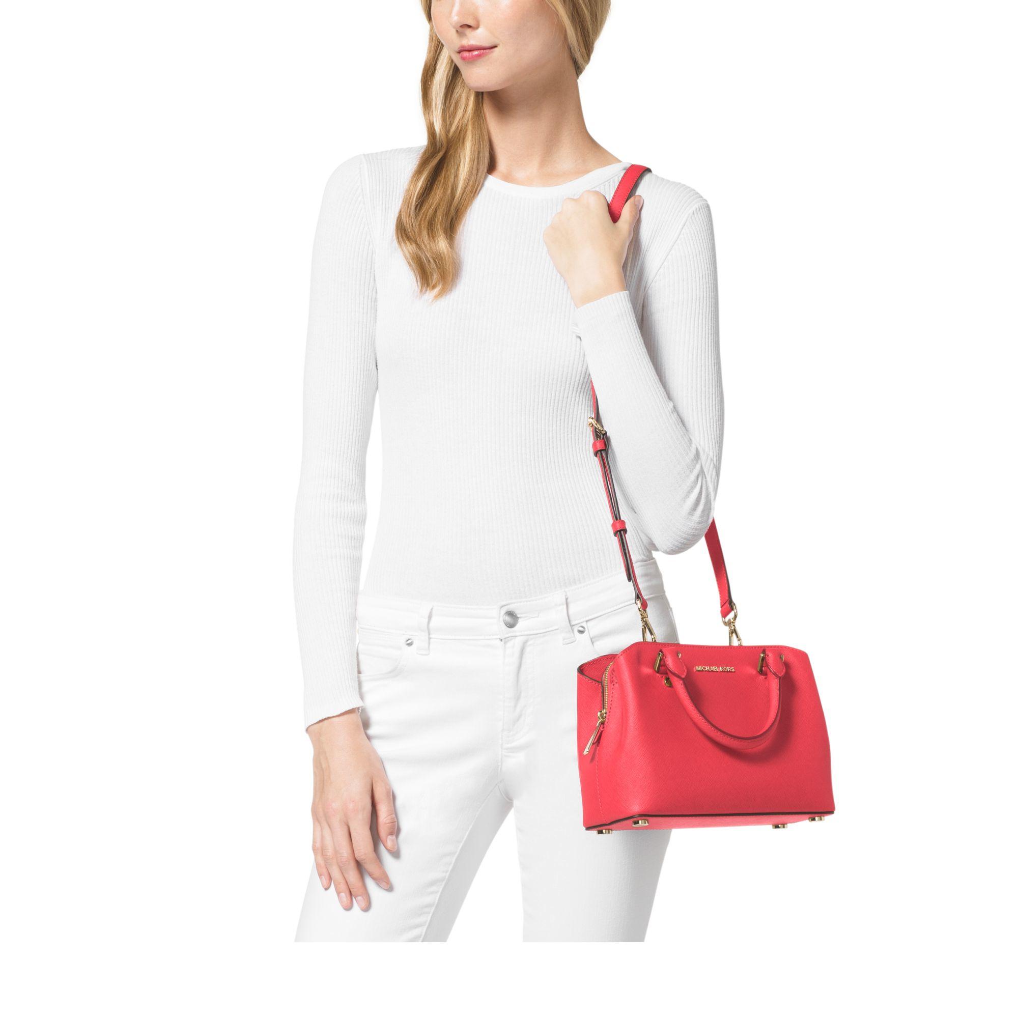 435669df24d0 Lyst - Michael Kors Savannah Small Saffiano Leather Satchel in Pink