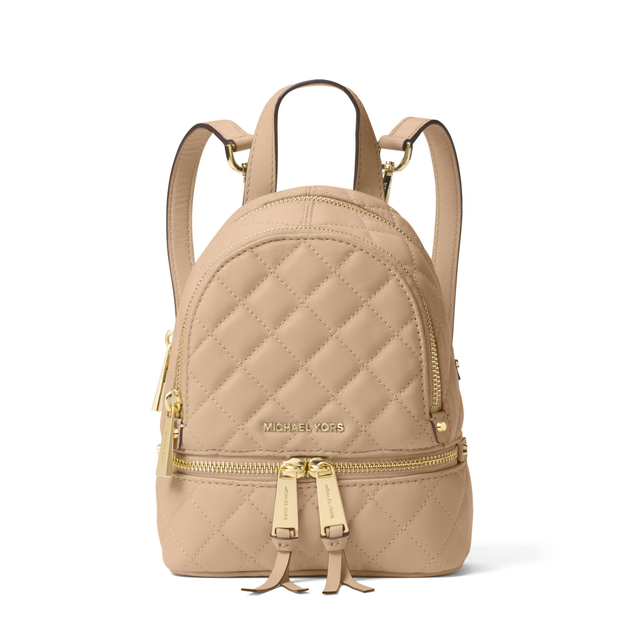fa673a7691d9 Michael Kors Rhea Extra-small Quilted-leather Backpack in Natural - Lyst
