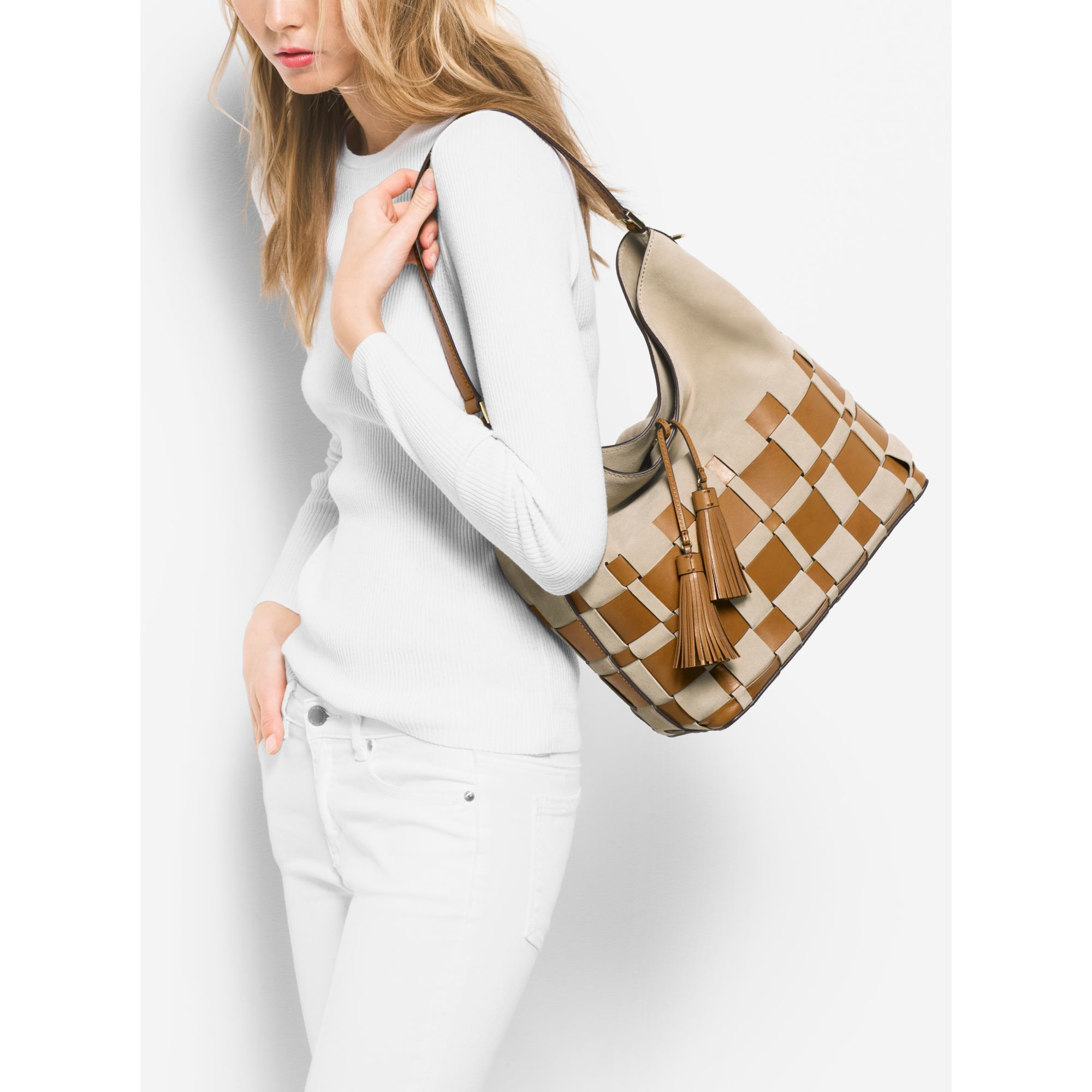 e8e56a456ef2 Michael Kors Vivian Large Woven Suede And Leather Hobo in Natural - Lyst