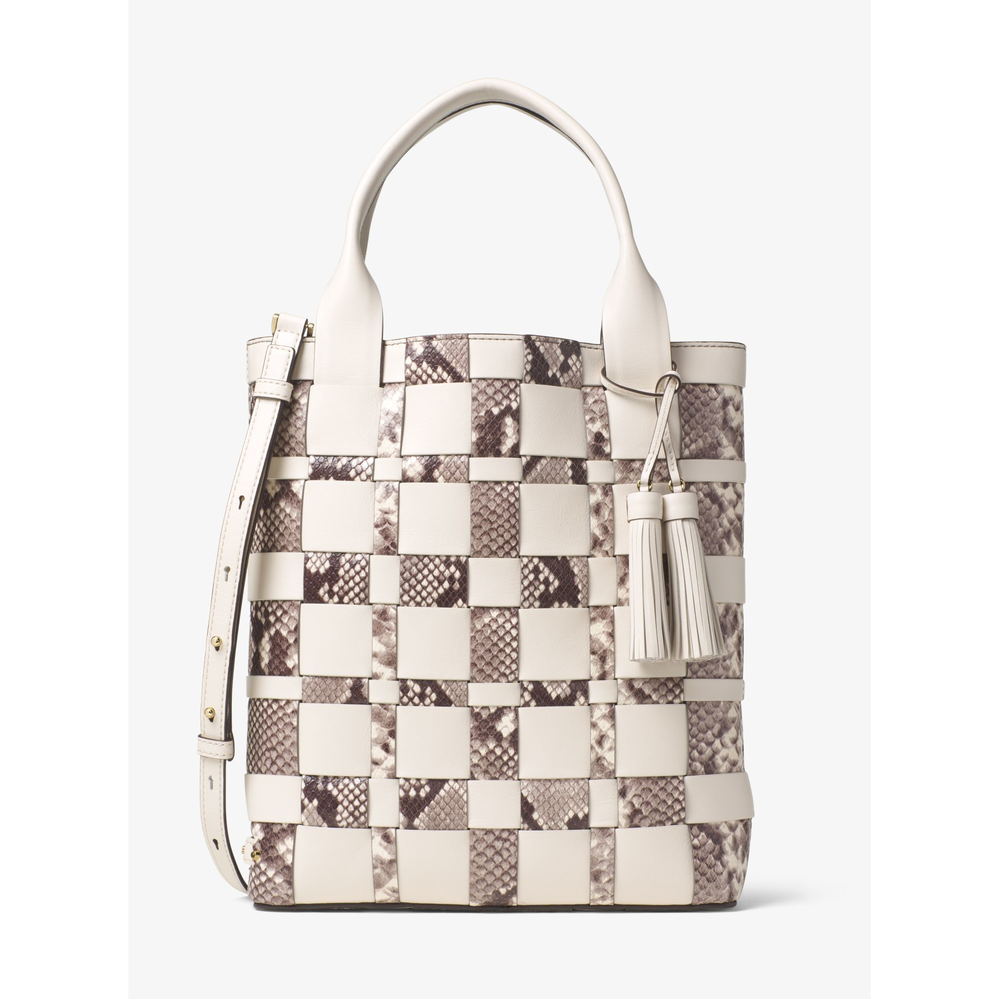 Lyst - Michael Kors Vivian Large Woven Leather Tote in Natural 5c309a8b96a8e