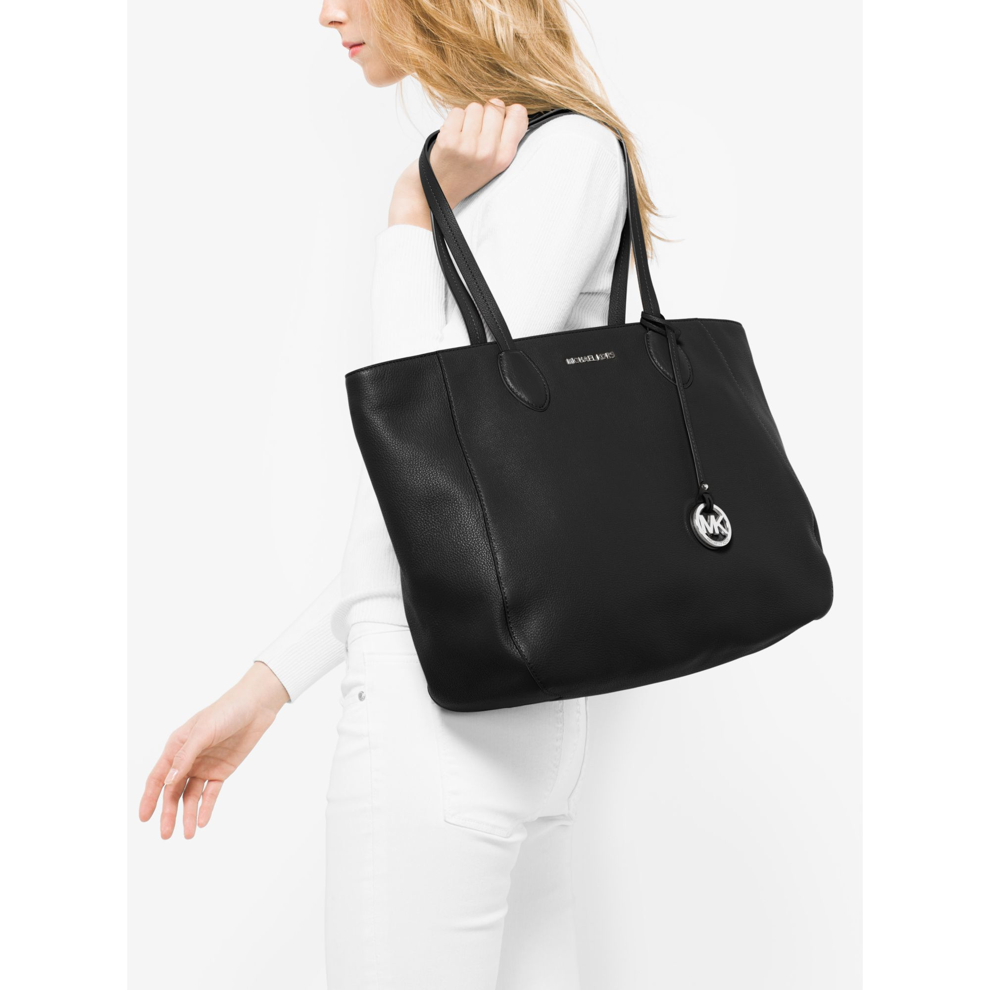 8effd979646f Michael Kors Ani Large Leather Tote in Black - Lyst