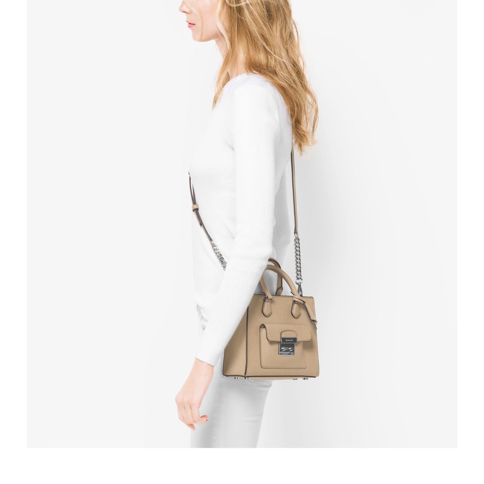 6dd27c88e8ba1d Michael Kors Bridgette Small Saffiano Leather Cross-Body Bag in Natural -  Lyst
