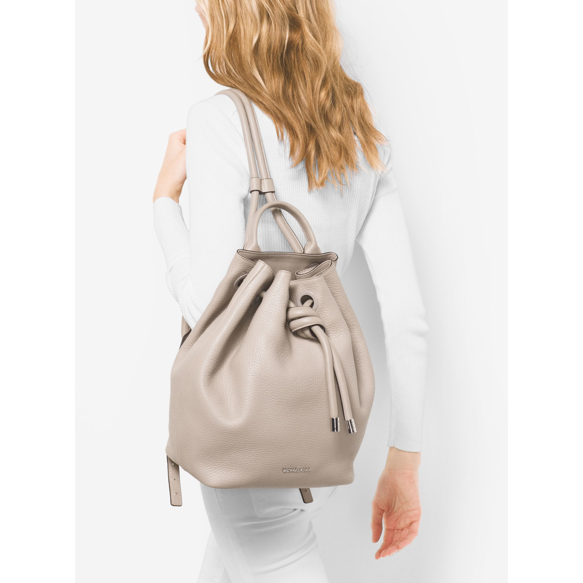 e353165375f3 ... discount lyst michael kors dalia large leather backpack in gray 82f34  5b4a2