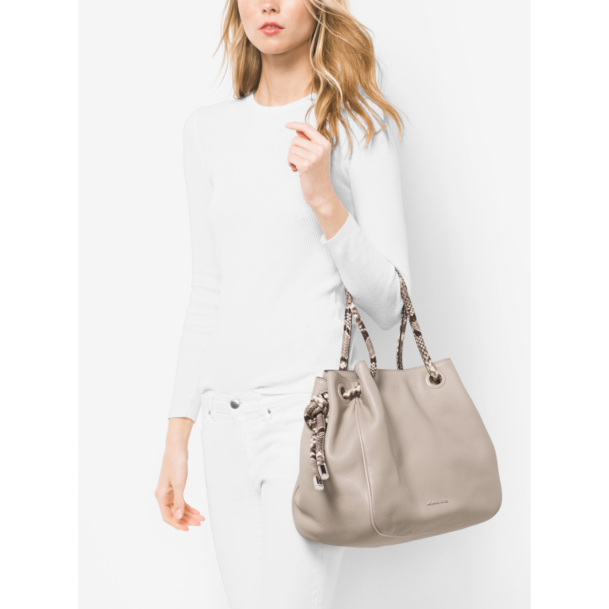 5662a06cdaef Michael Kors Dalia Large Leather Tote in Gray - Lyst