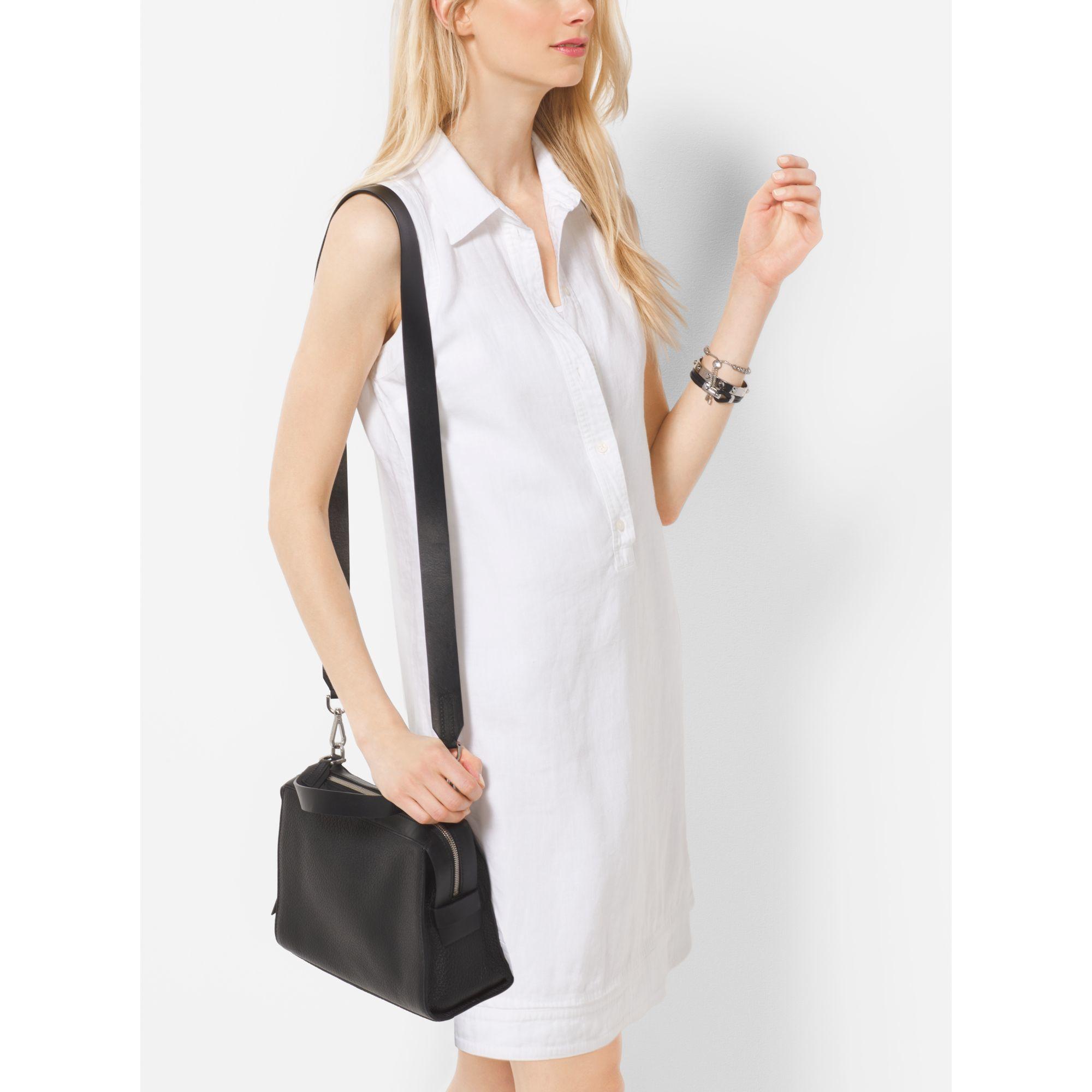 1cea144772e2d1 Michael Kors Ingrid Medium Leather Shoulder Bag in Black - Lyst