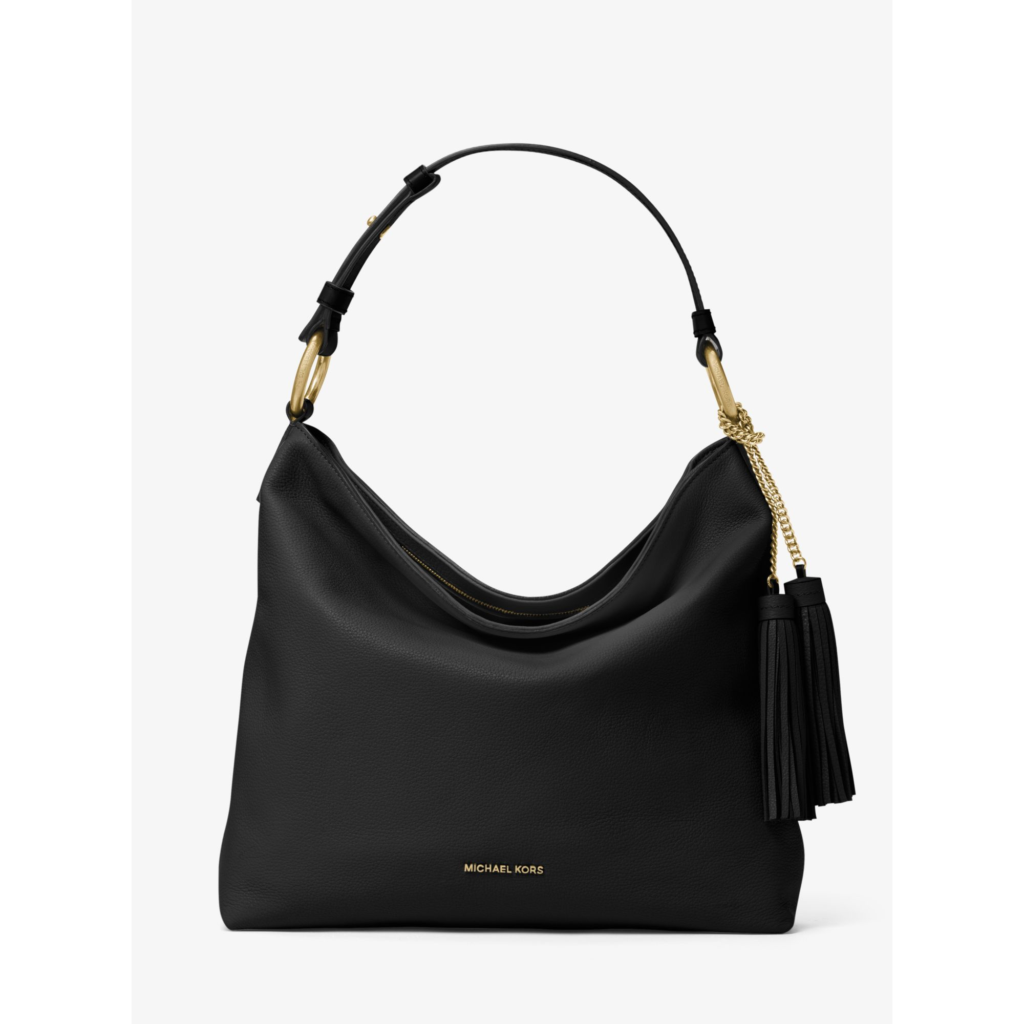 Michael kors Elyse Large Leather Shoulder Bag in Black | Lyst