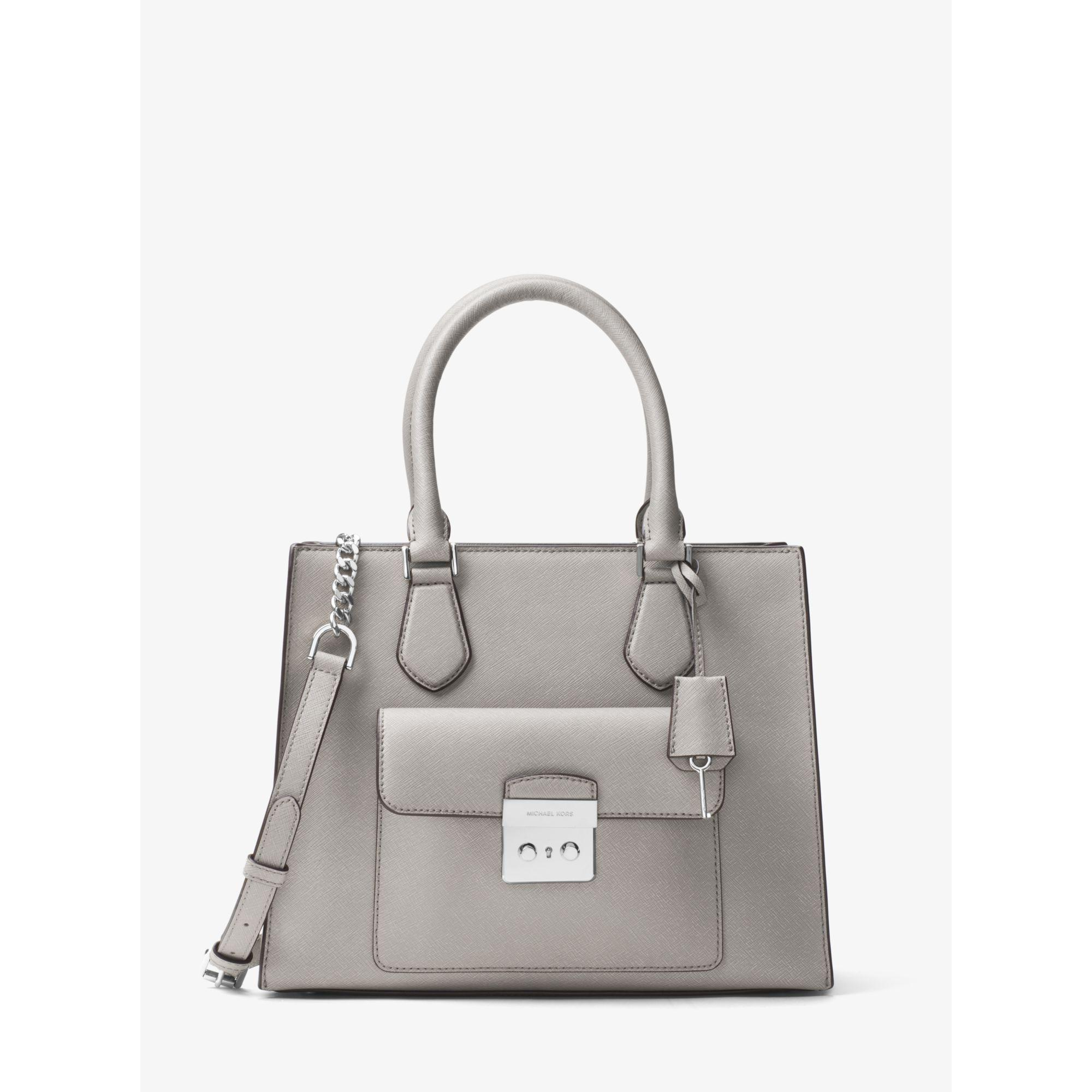2acee62e46c045 Michael Kors Bridgette Medium Saffiano Leather Tote in Gray - Lyst
