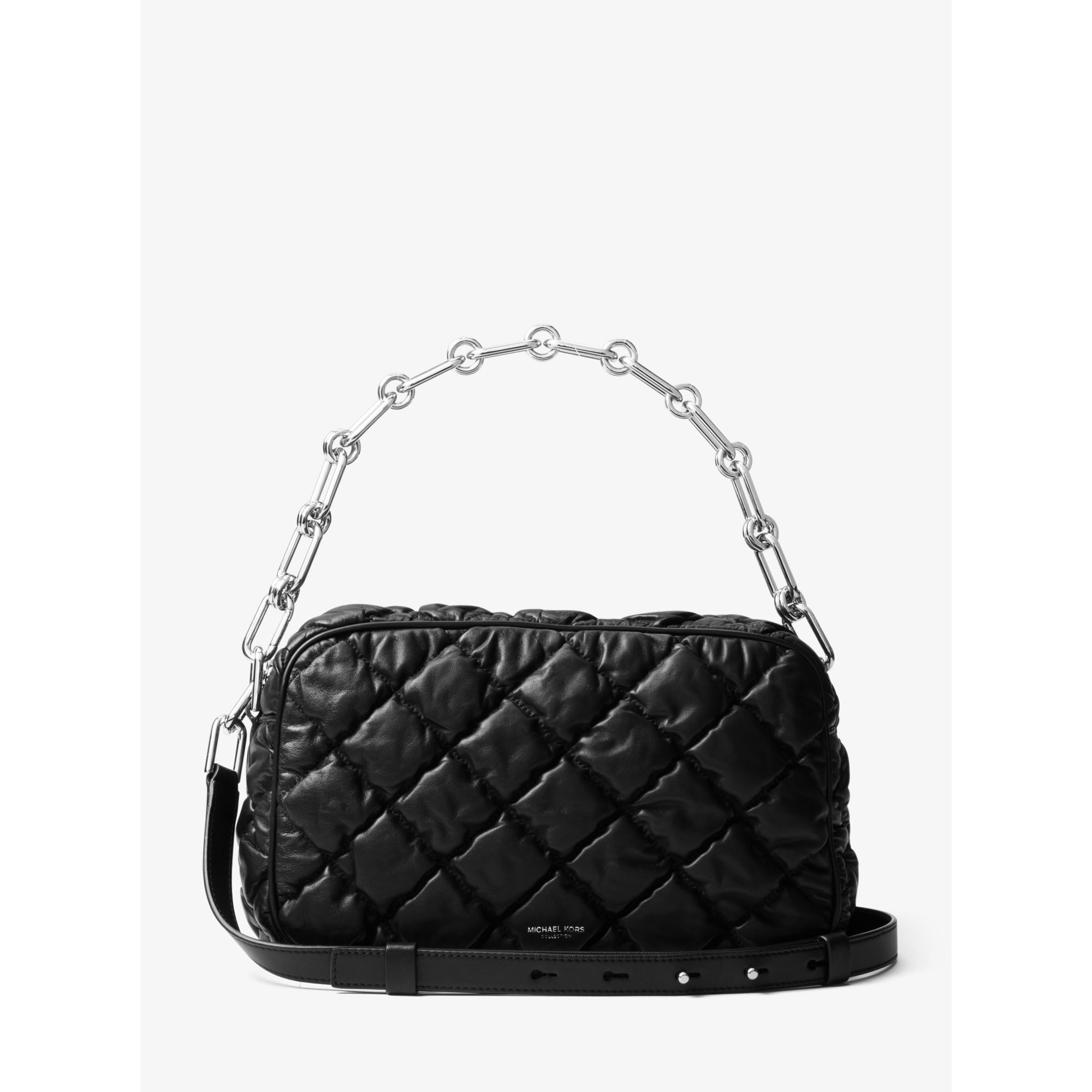30691d7964e8 Lyst - Michael Kors Julie Large Quilted-leather Camera Bag in Black