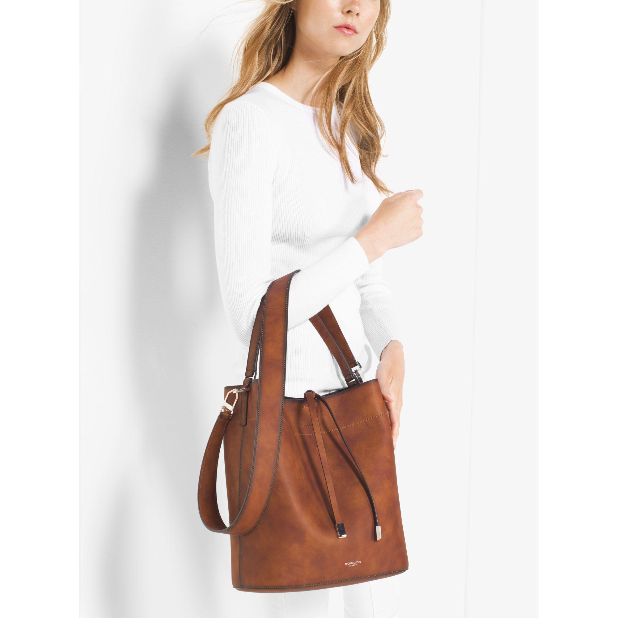 f5481a97b91f Michael Kors Miranda Large Burnished Leather Shoulder Bag in Brown ...