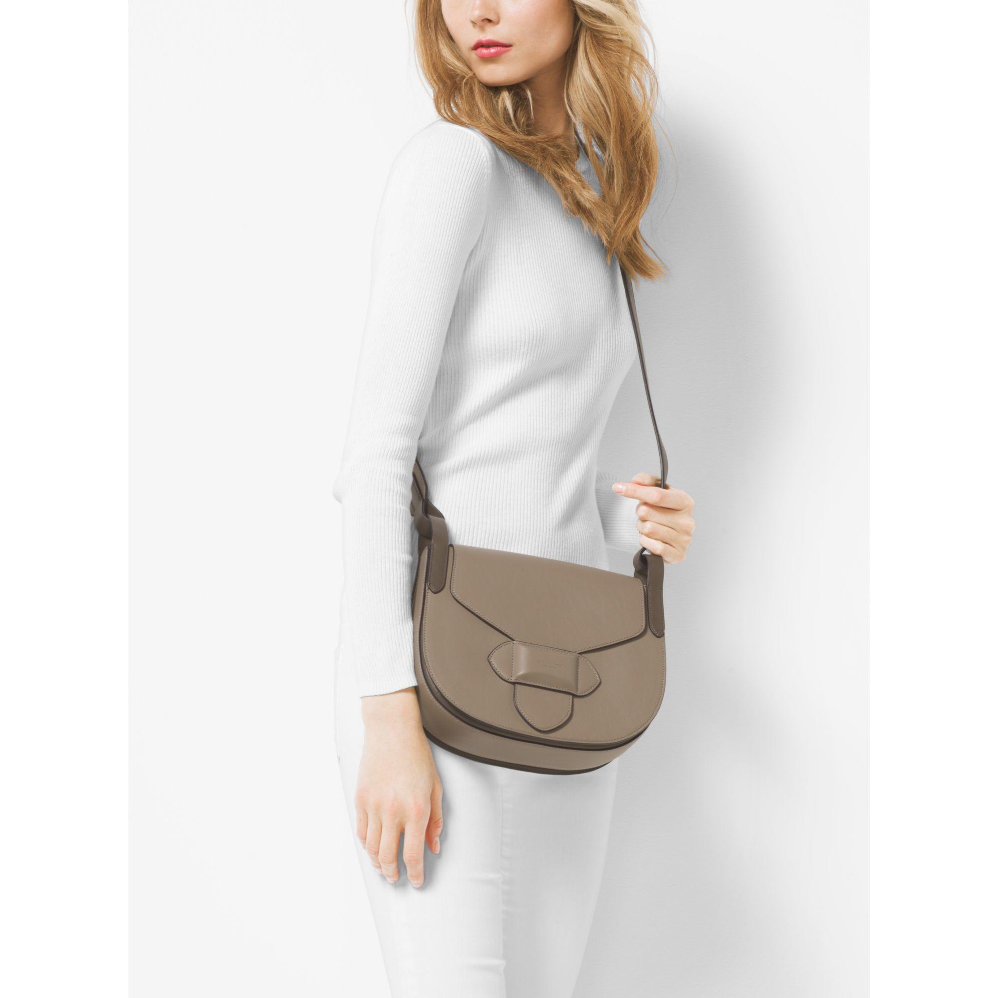 24fa01e92f99 Michael Kors Daria Medium French Calf Leather Saddlebag in Brown - Lyst