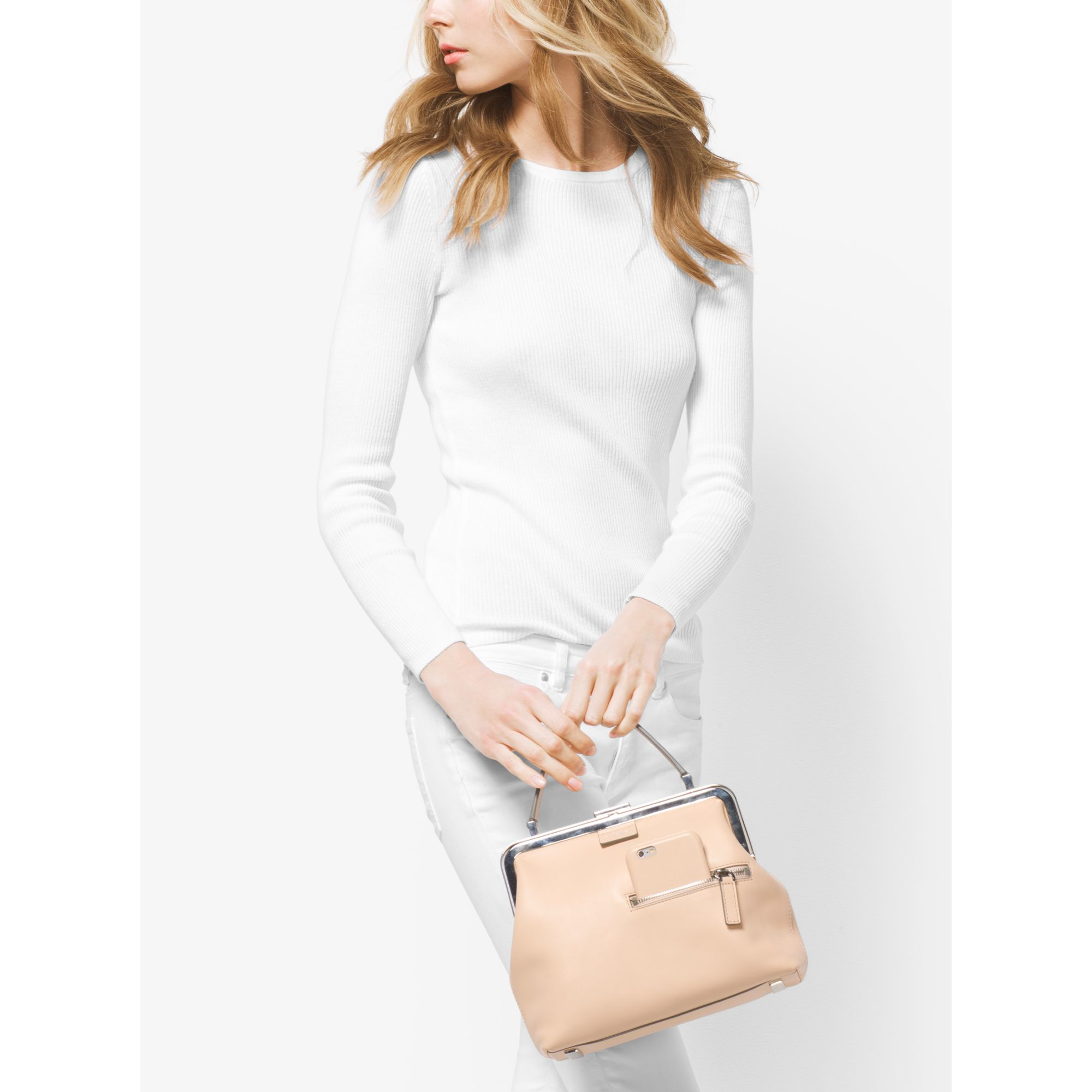 f3921484d4f04 Lyst - Michael Kors Angela Small French Calf Leather Top-handle Bag in  Natural