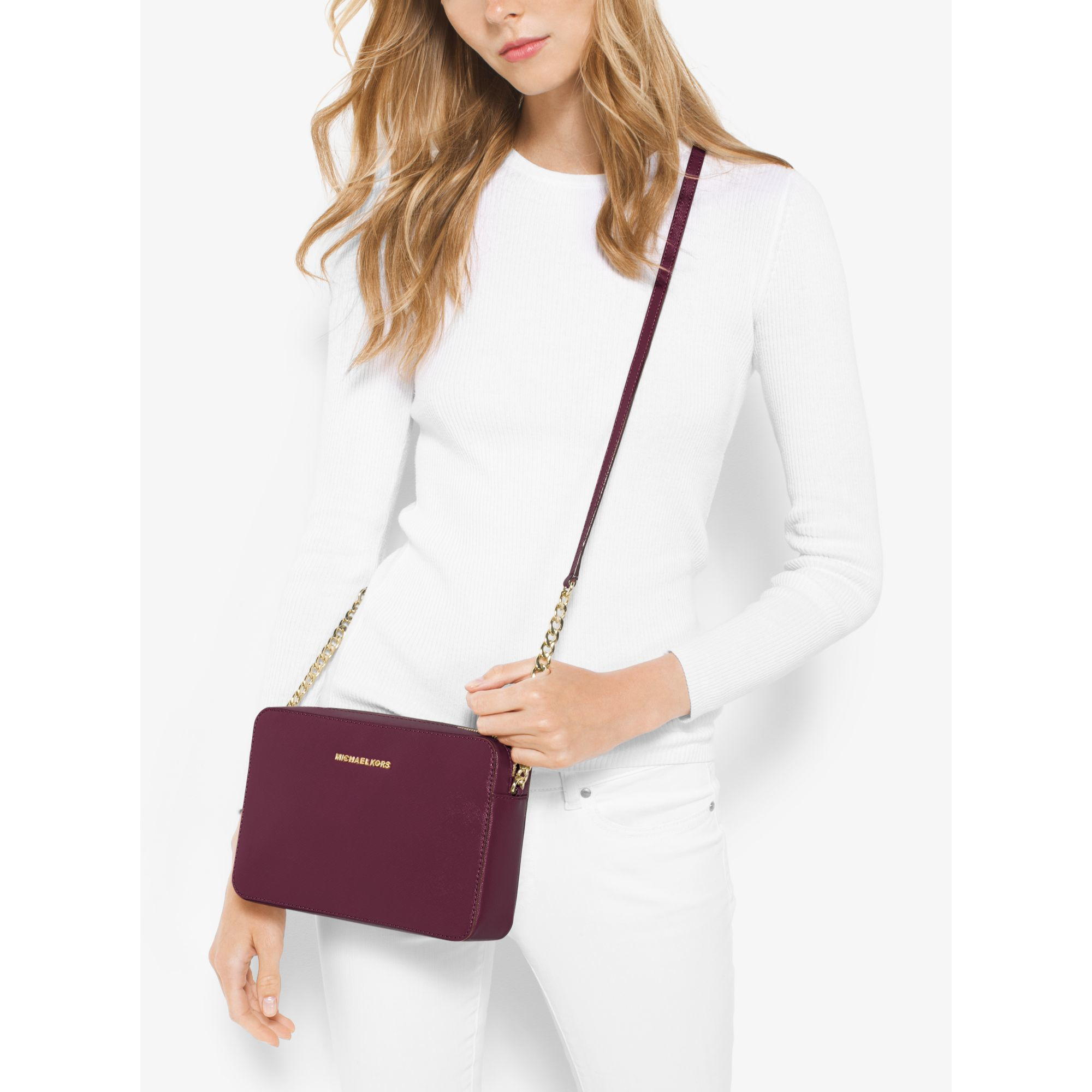 b5a65866f5986b Michael Kors Jet Set Large Patent Leather Crossbody Bag in Purple - Lyst