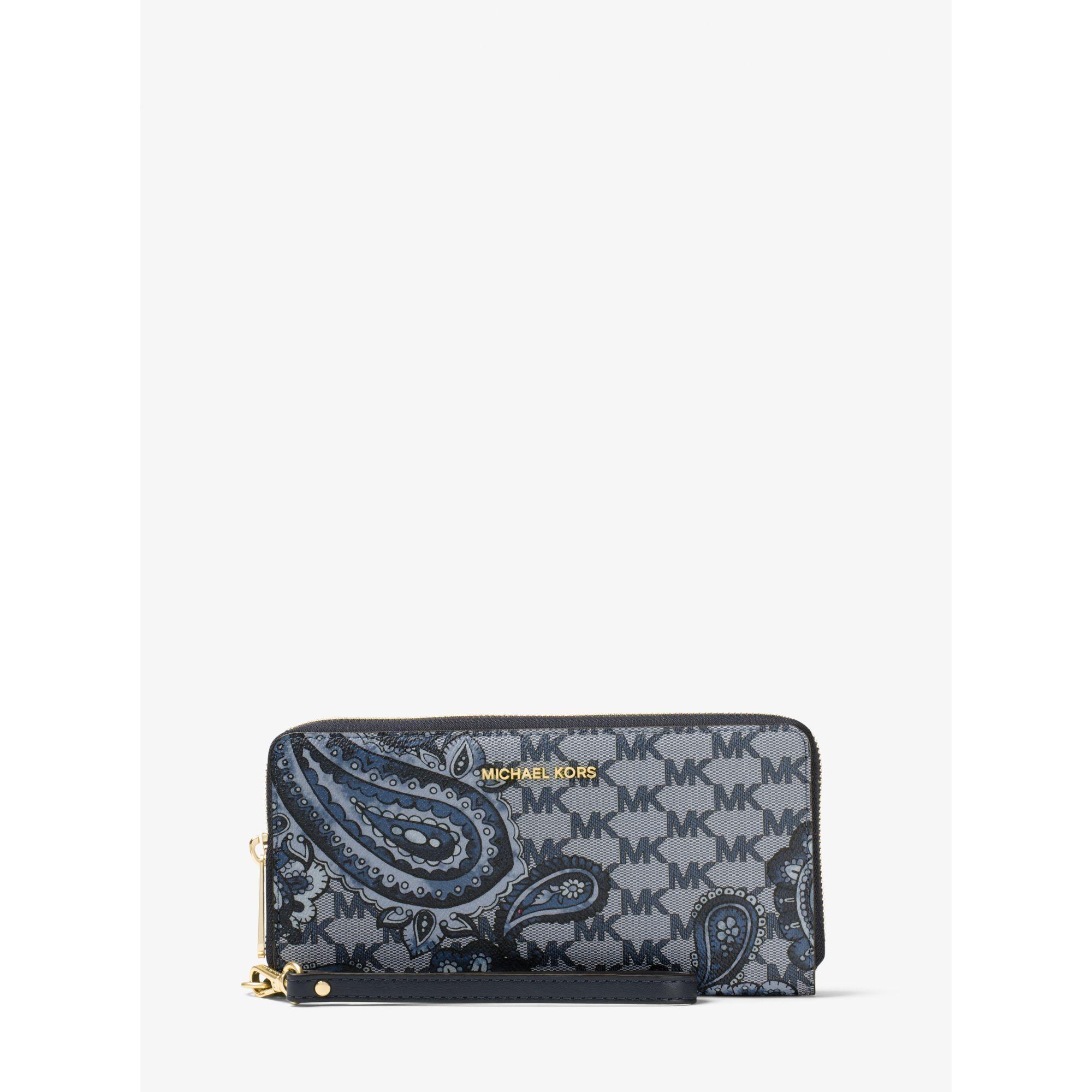 049fe81c7e197e Lyst - Michael Kors Daniela Large Heritage Paisley Wristlet Wallet ...
