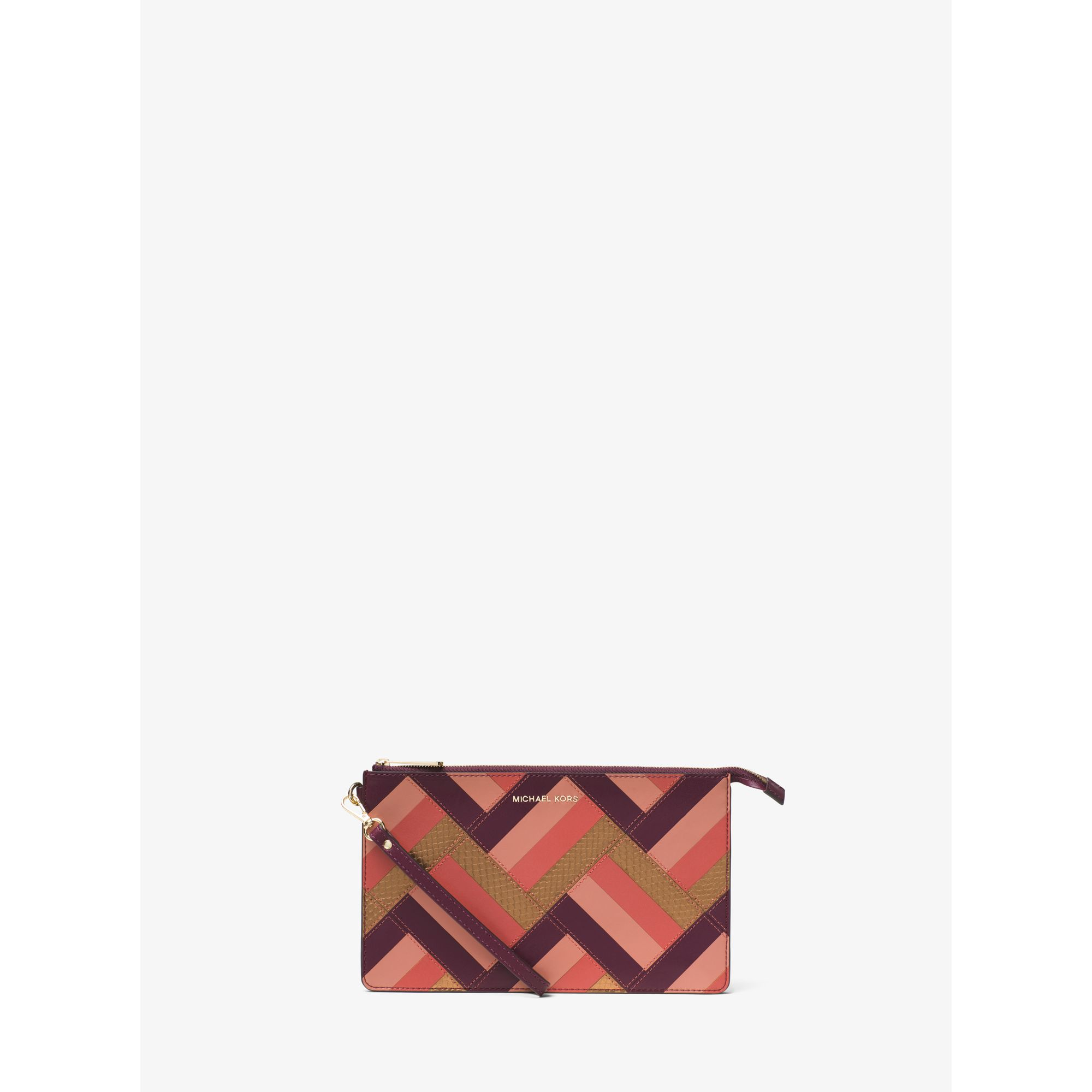 a36cde3574d8 Lyst - Michael Kors Large Marquetry Patchwork Leather Wristlet