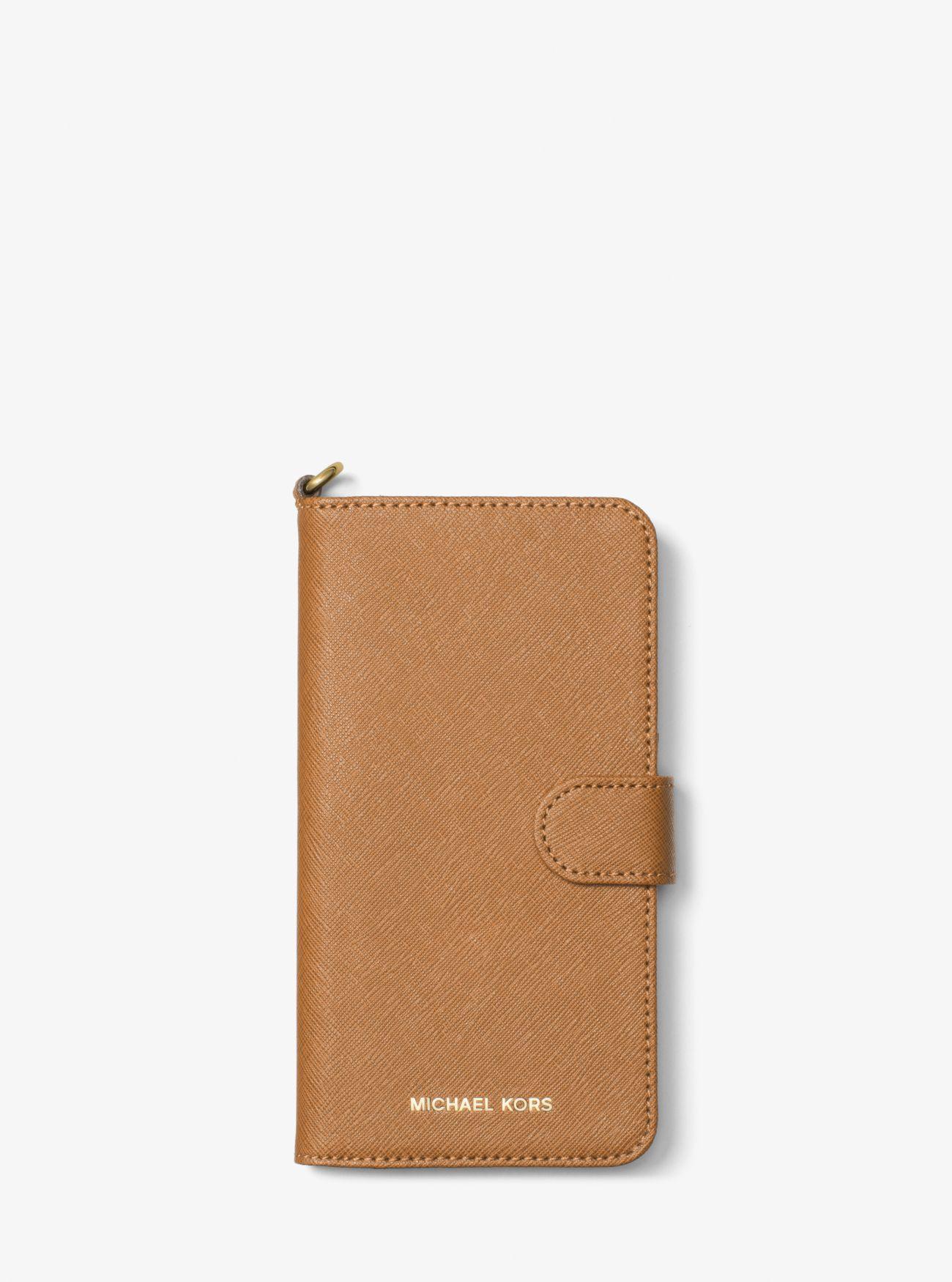 718456ac982 MICHAEL Michael Kors. Women's Brown Saffiano Leather Folio Phone Case For  Iphone7/8 Plus