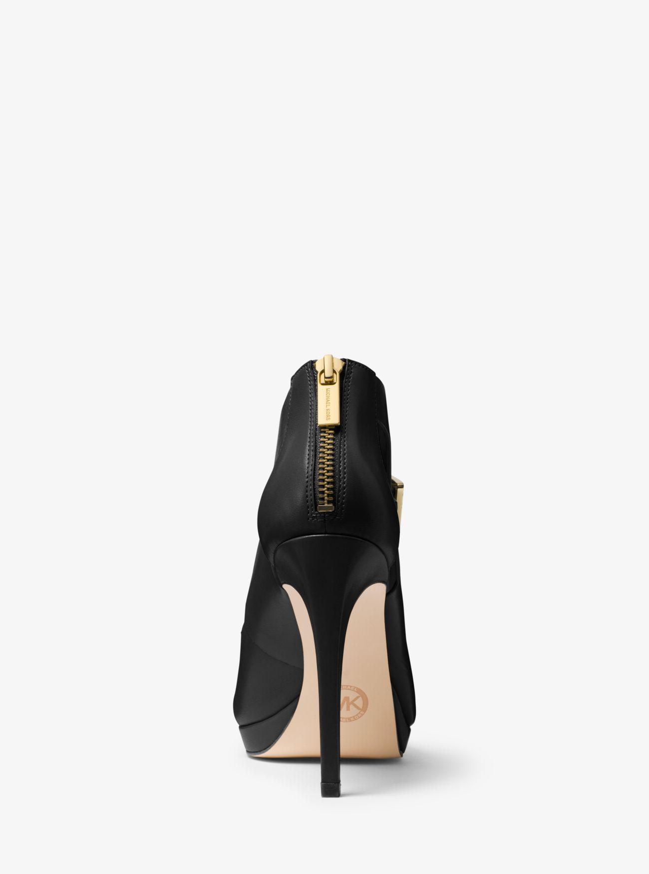 e354293a4180 Lyst - Michael Kors Kimber Leather Platform Sandal in Black
