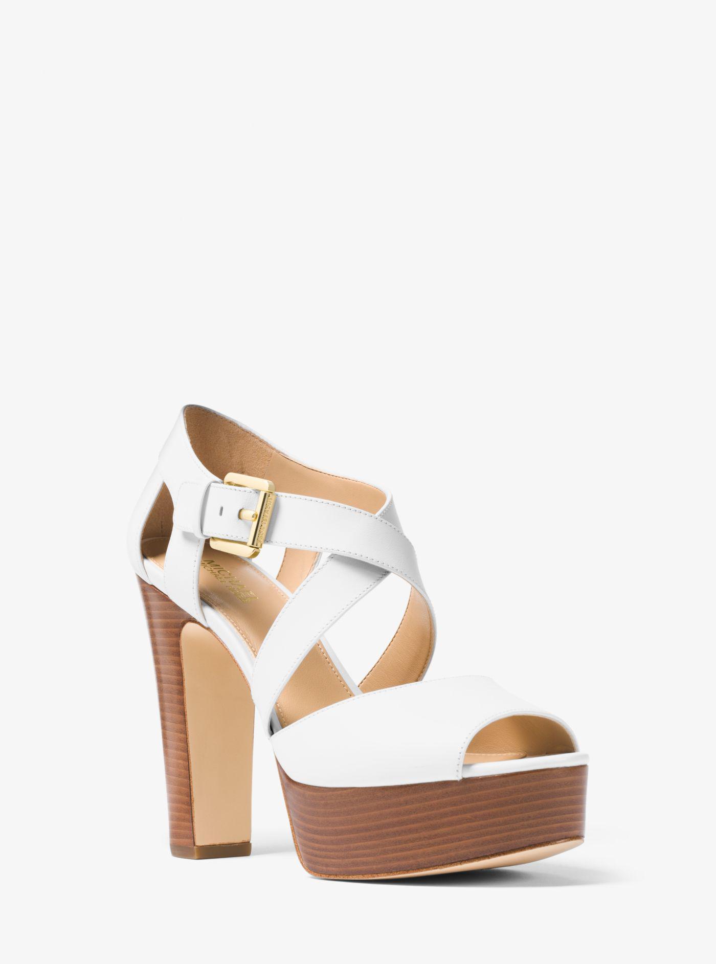 a66ebfa4c8 Michael Kors Jodi Leather Platform Sandal in White - Lyst