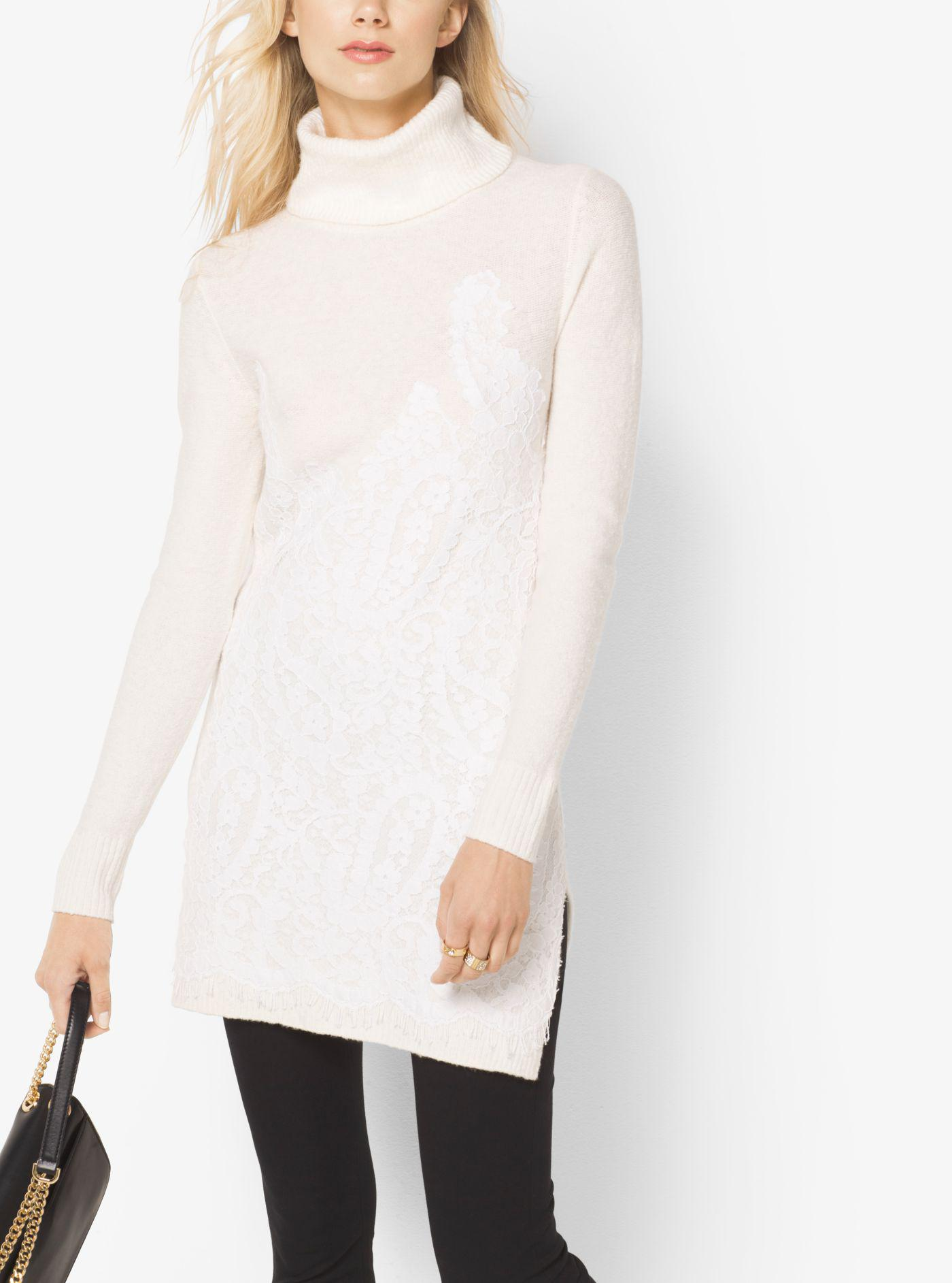 5098fa8a6b1 Lyst - Michael Kors Lace-embroidered Turtleneck Tunic in White
