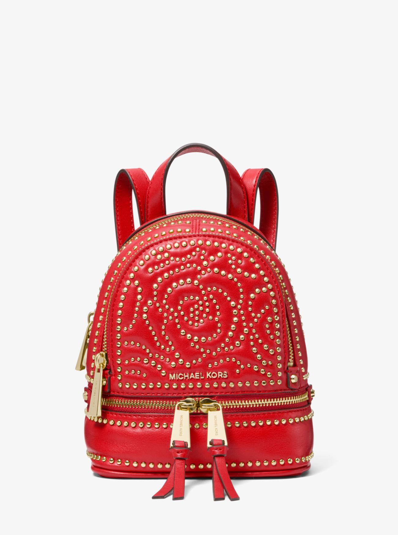 a437a03b30ef Michael Kors - Red Rhea Mini Rose Studded Leather Backpack - Lyst. View  fullscreen