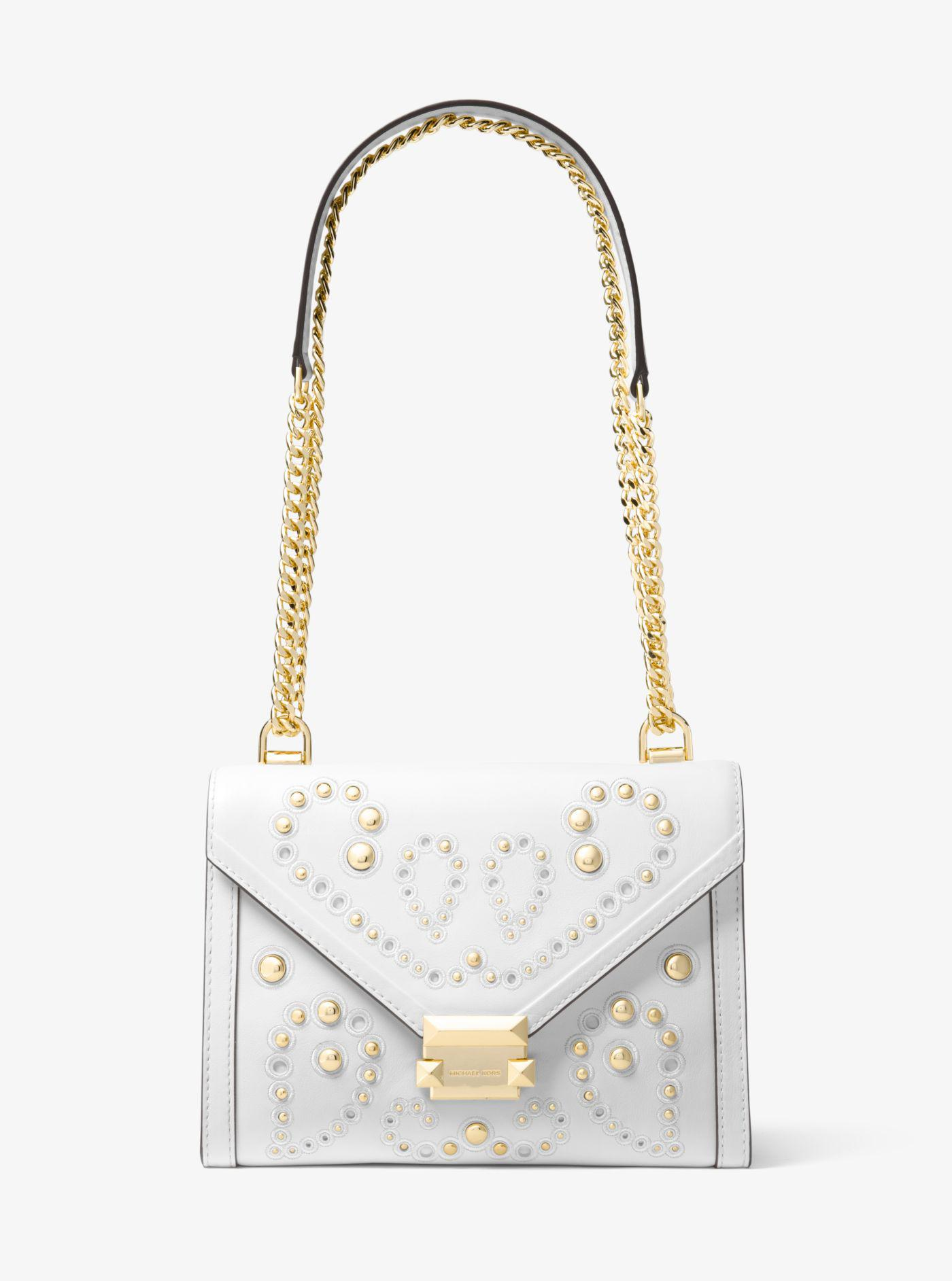 3dc9e5594c65 Lyst - Michael Kors Whitney Large Embellished Leather Convertible ...