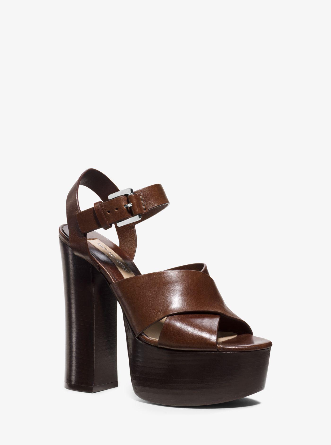 5a6e1a51d2 Michael Kors Crista Calf Leather Platform Sandal in Brown - Lyst
