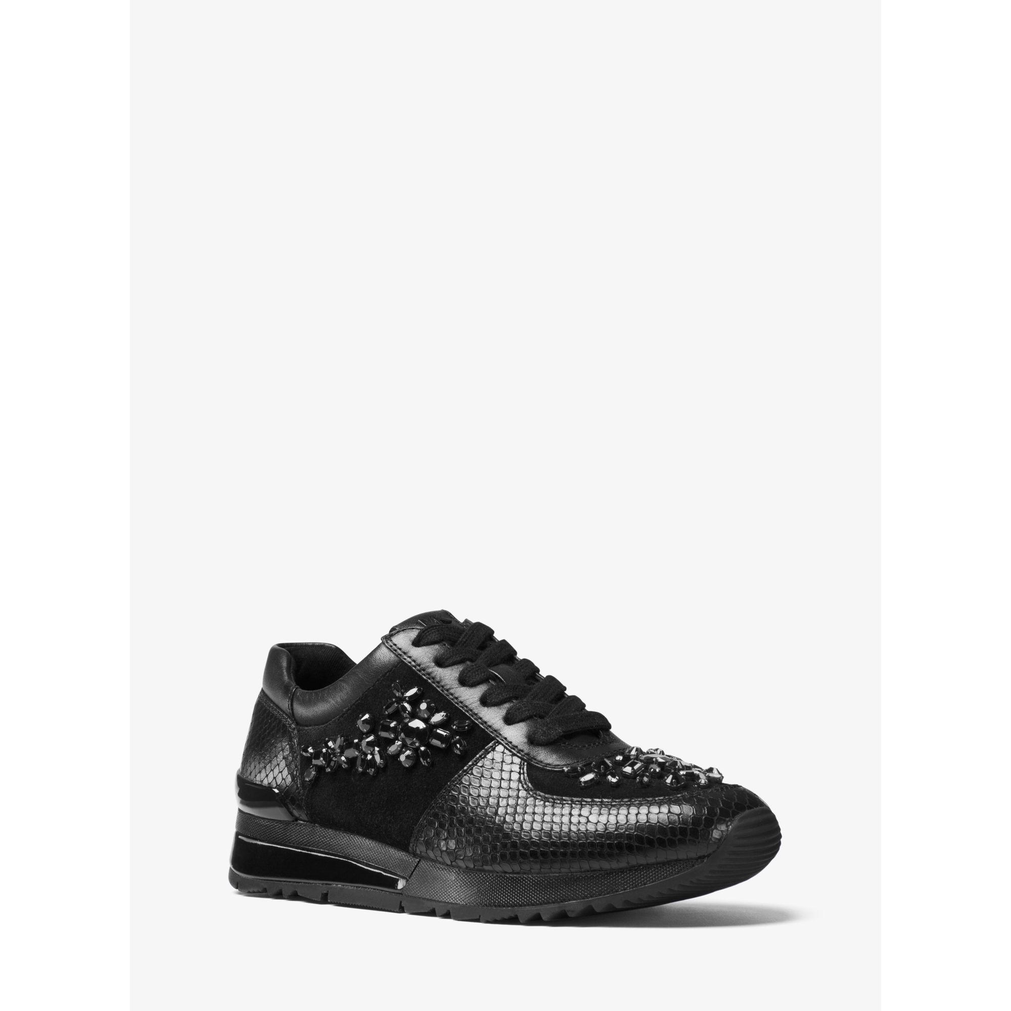 michael kors allie embellished leather sneaker in black lyst. Black Bedroom Furniture Sets. Home Design Ideas