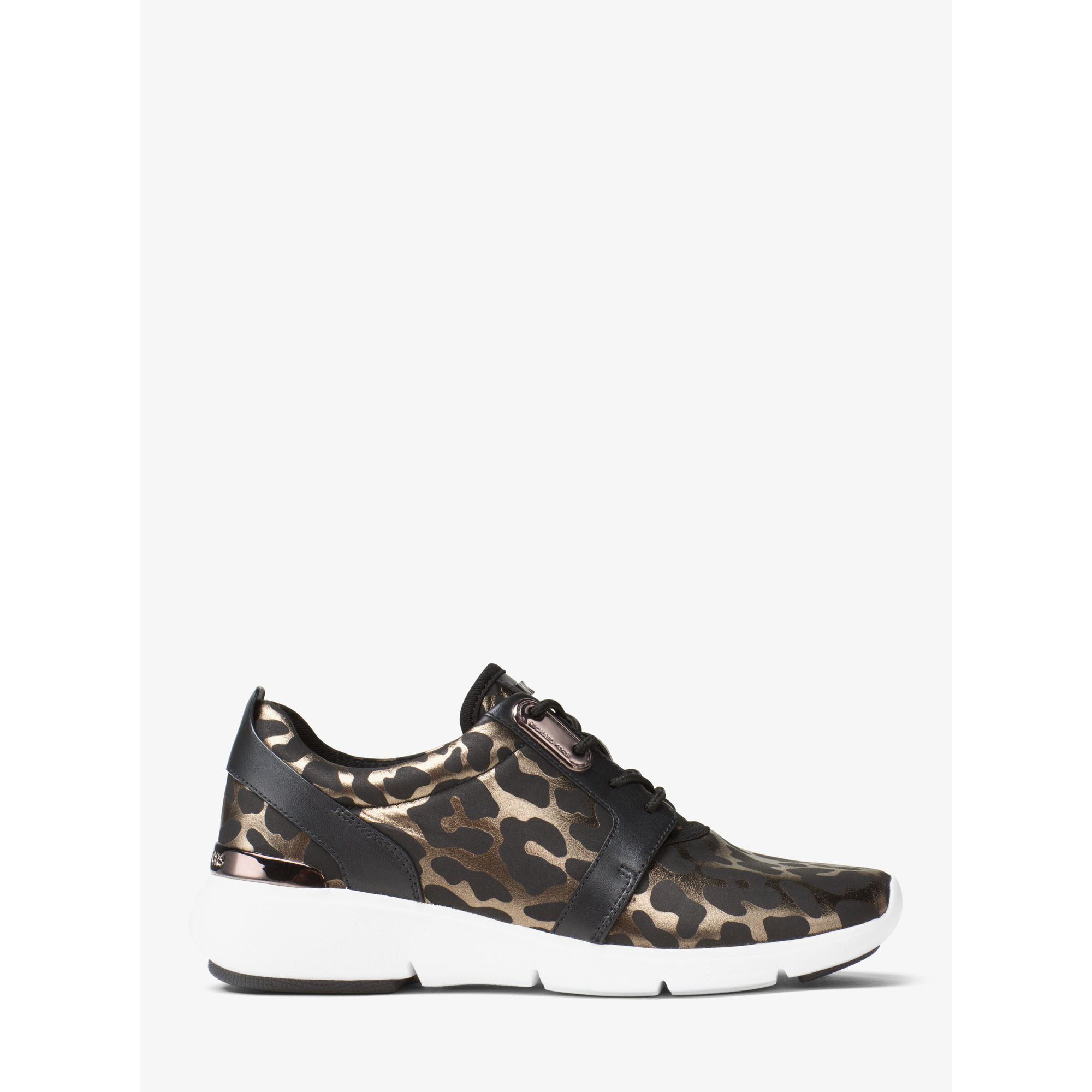 michael kors amanda animal print low top sneakers in black lyst. Black Bedroom Furniture Sets. Home Design Ideas