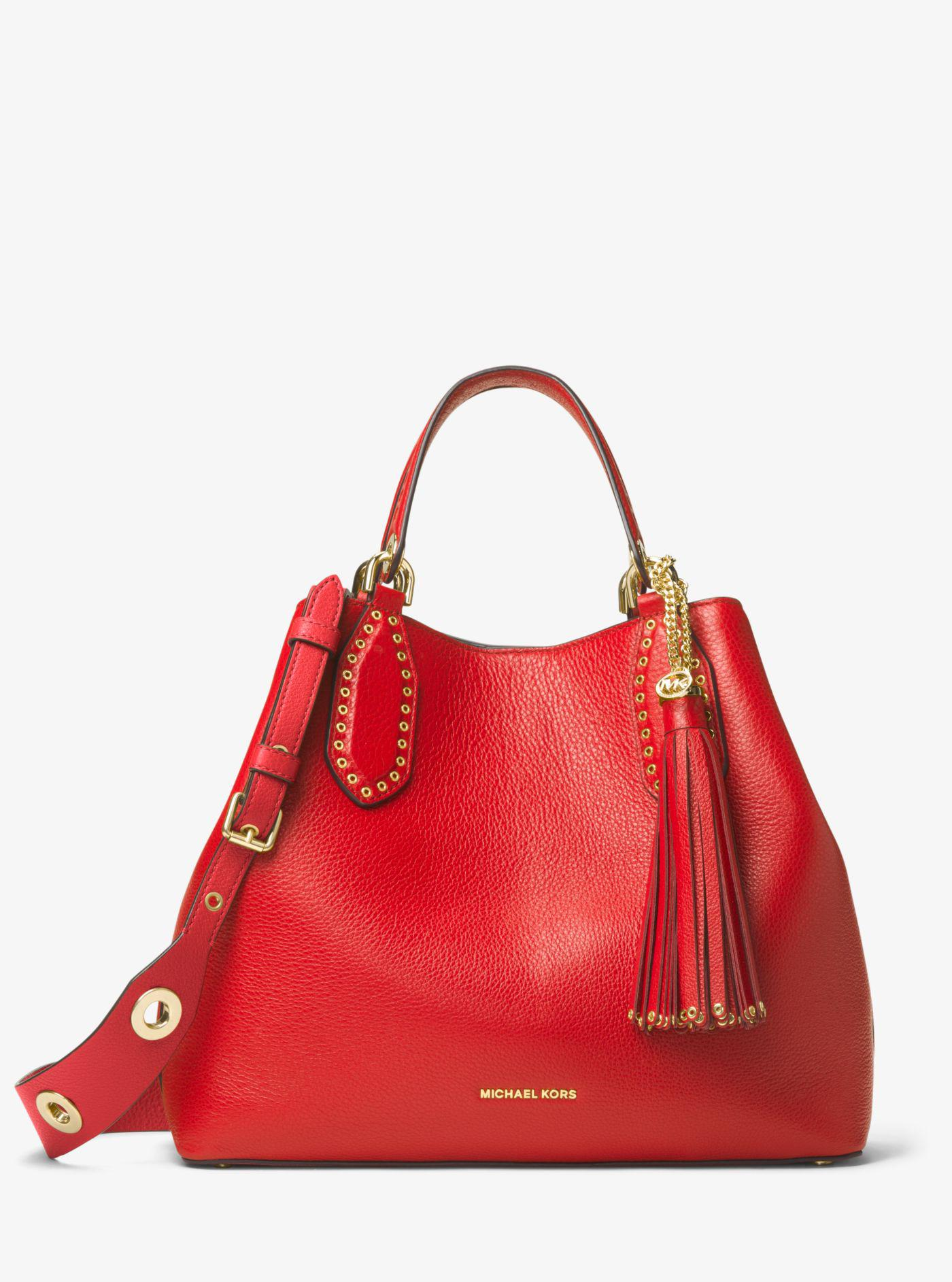 d53aa183350c Michael Kors Brooklyn Large Leather Tote Bag in Red - Lyst