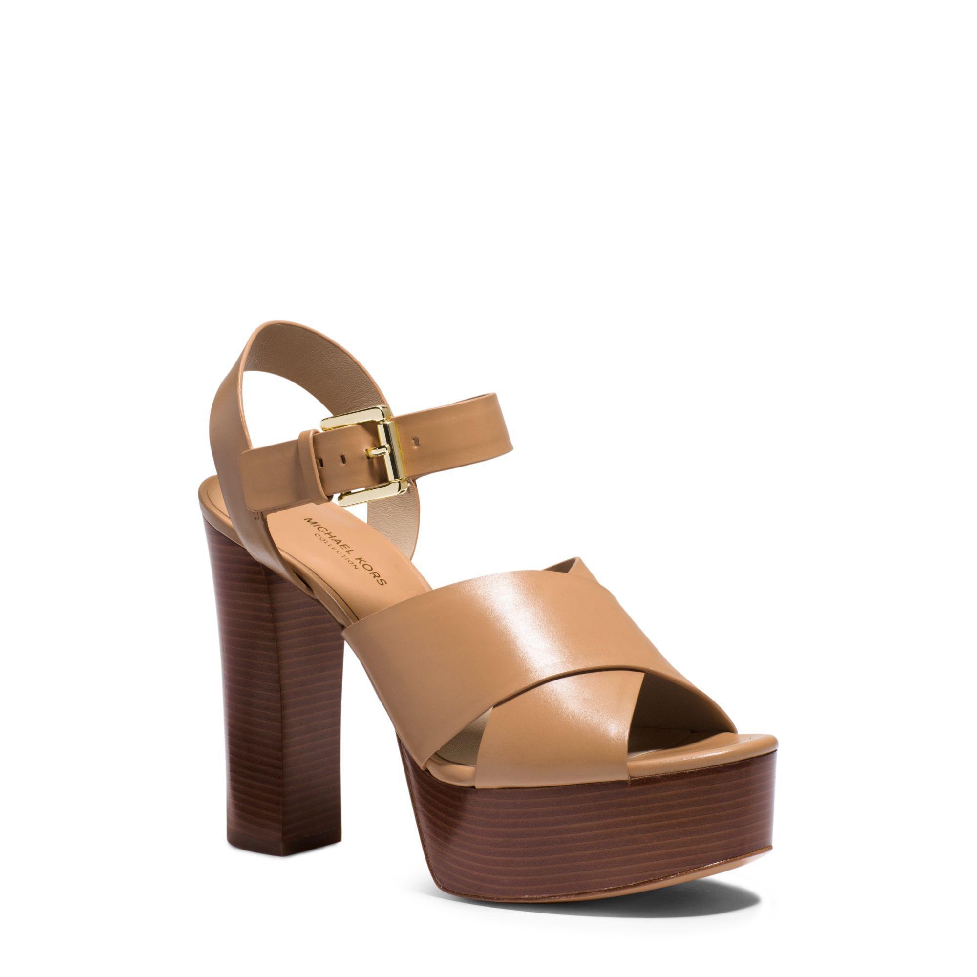 be73999c0c09 Lyst - Michael Kors Dara Leather Platform Sandal in Brown