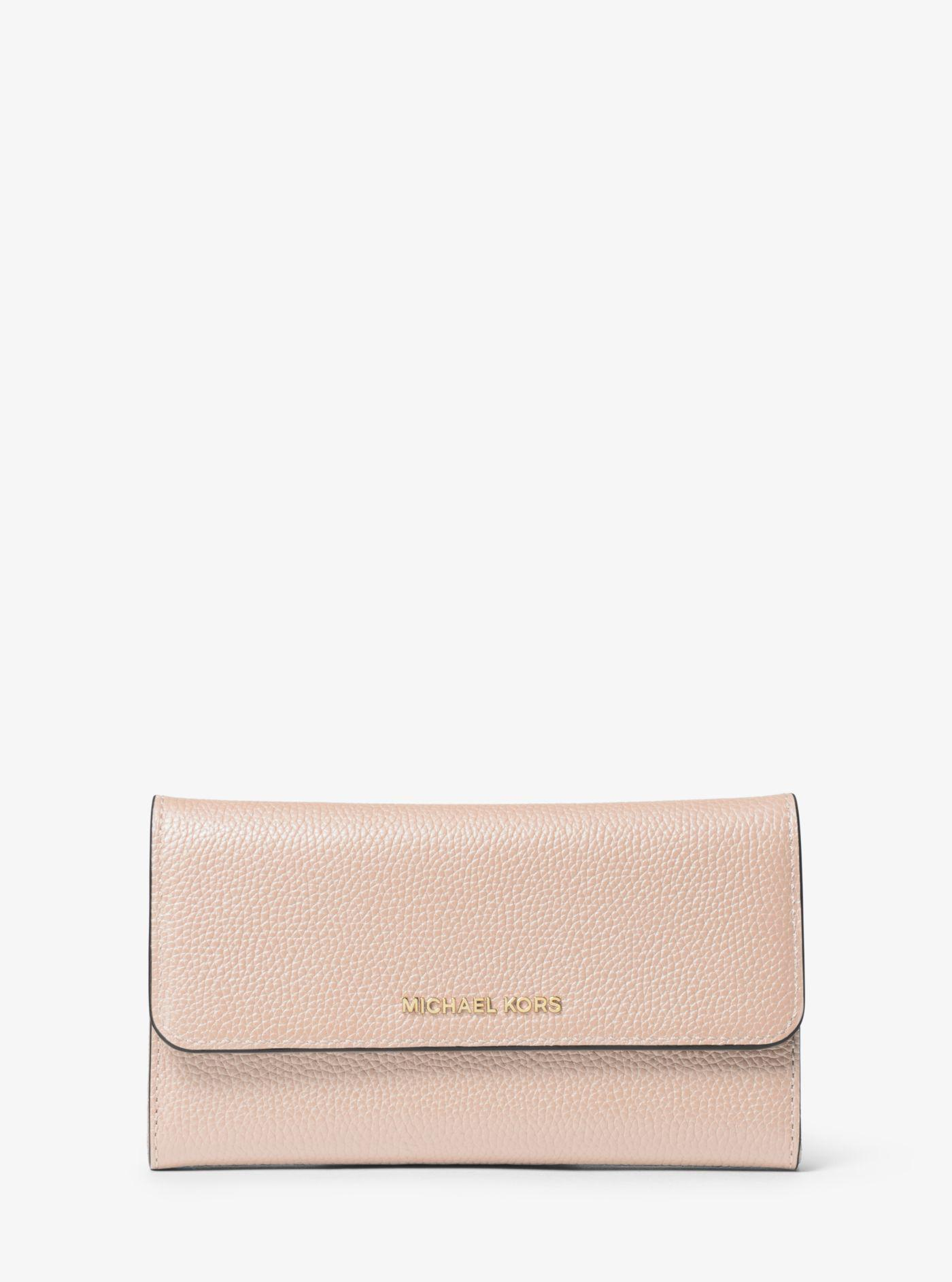 14b3583ba68a28 Michael Kors - Pink Tri-fold Leather Wallet - Lyst. View fullscreen