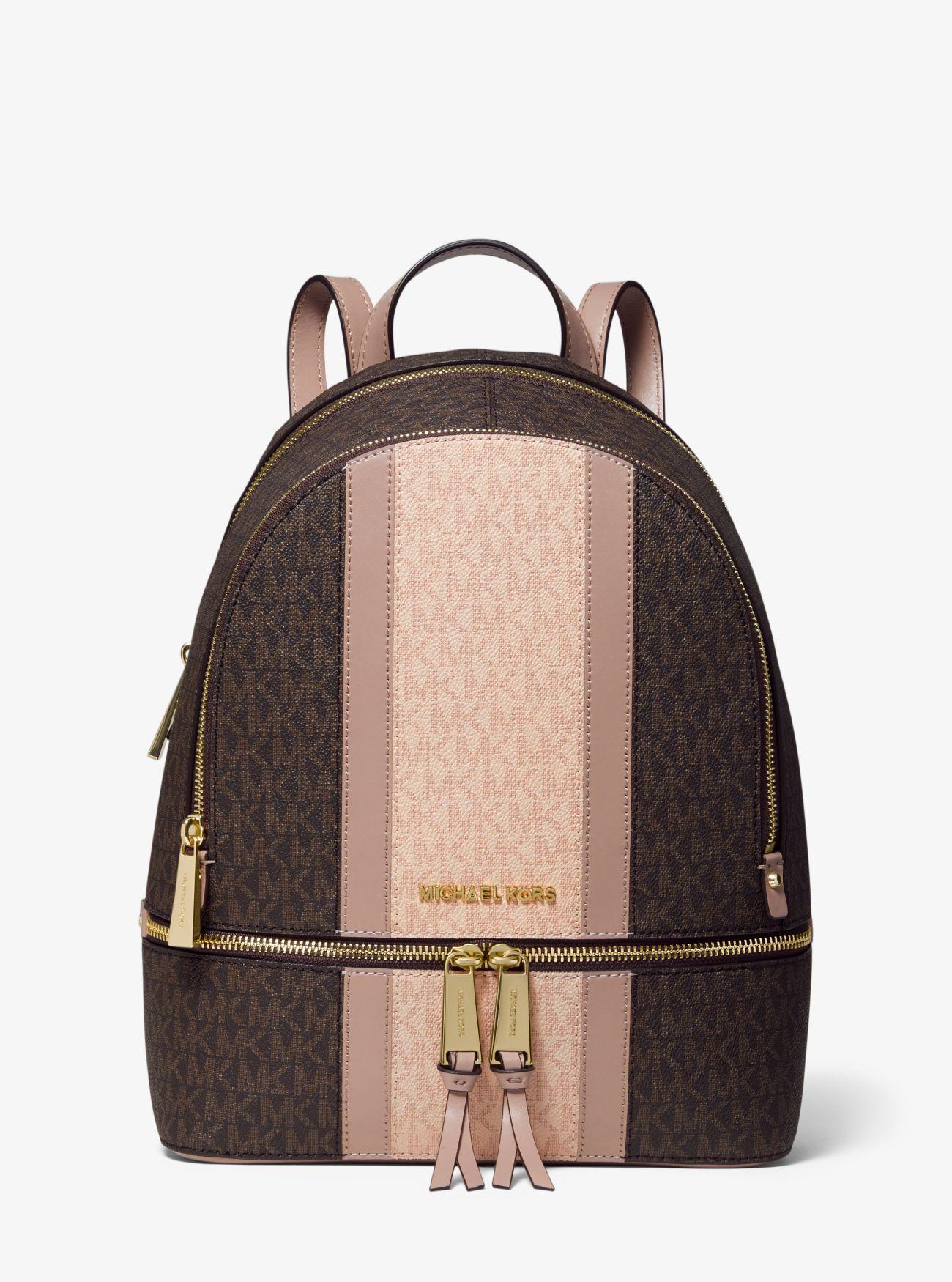ae2d52085c7b Michael Kors - Brown Rhea Medium Striped Logo And Leather Backpack - Lyst.  View fullscreen