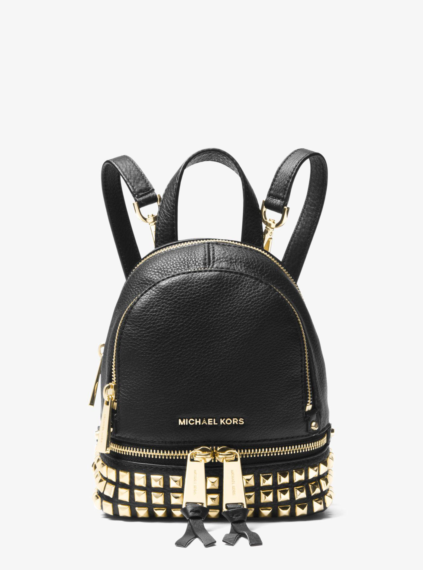 9067ed42a4b6 ... real michael kors black rhea mini studded leather backpack lyst. view  fullscreen 844ec 0c5a7