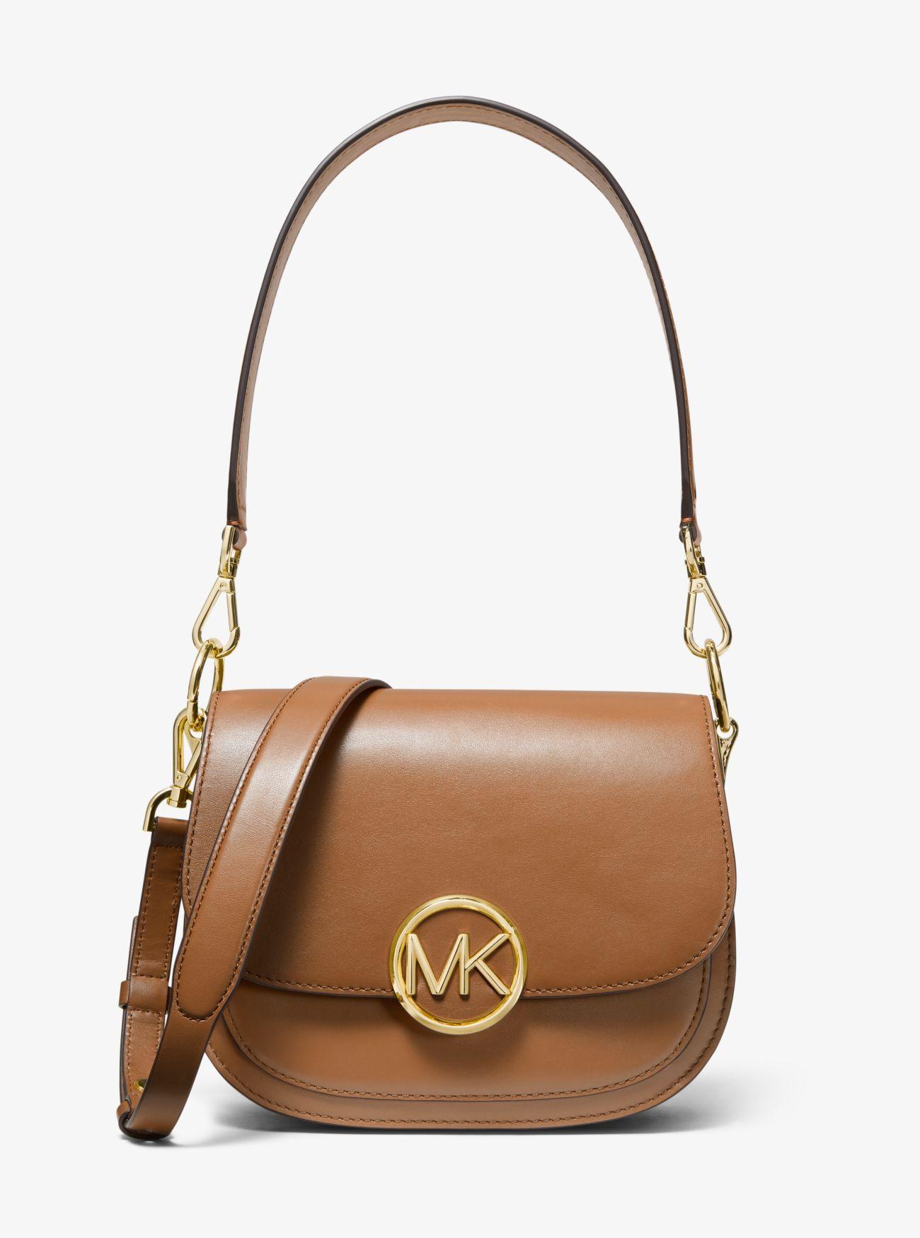 8bc520f3310899 Michael Kors Lillie Medium Leather Saddle Bag in Brown - Lyst