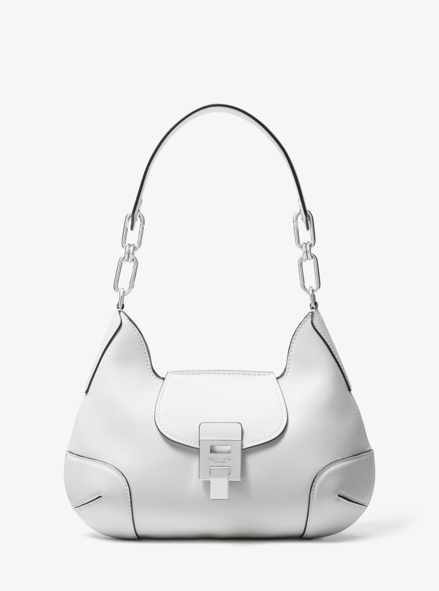 b32bd8cd5230 Lyst - Michael Kors Bancroft Medium Calf Leather Shoulder Bag in White