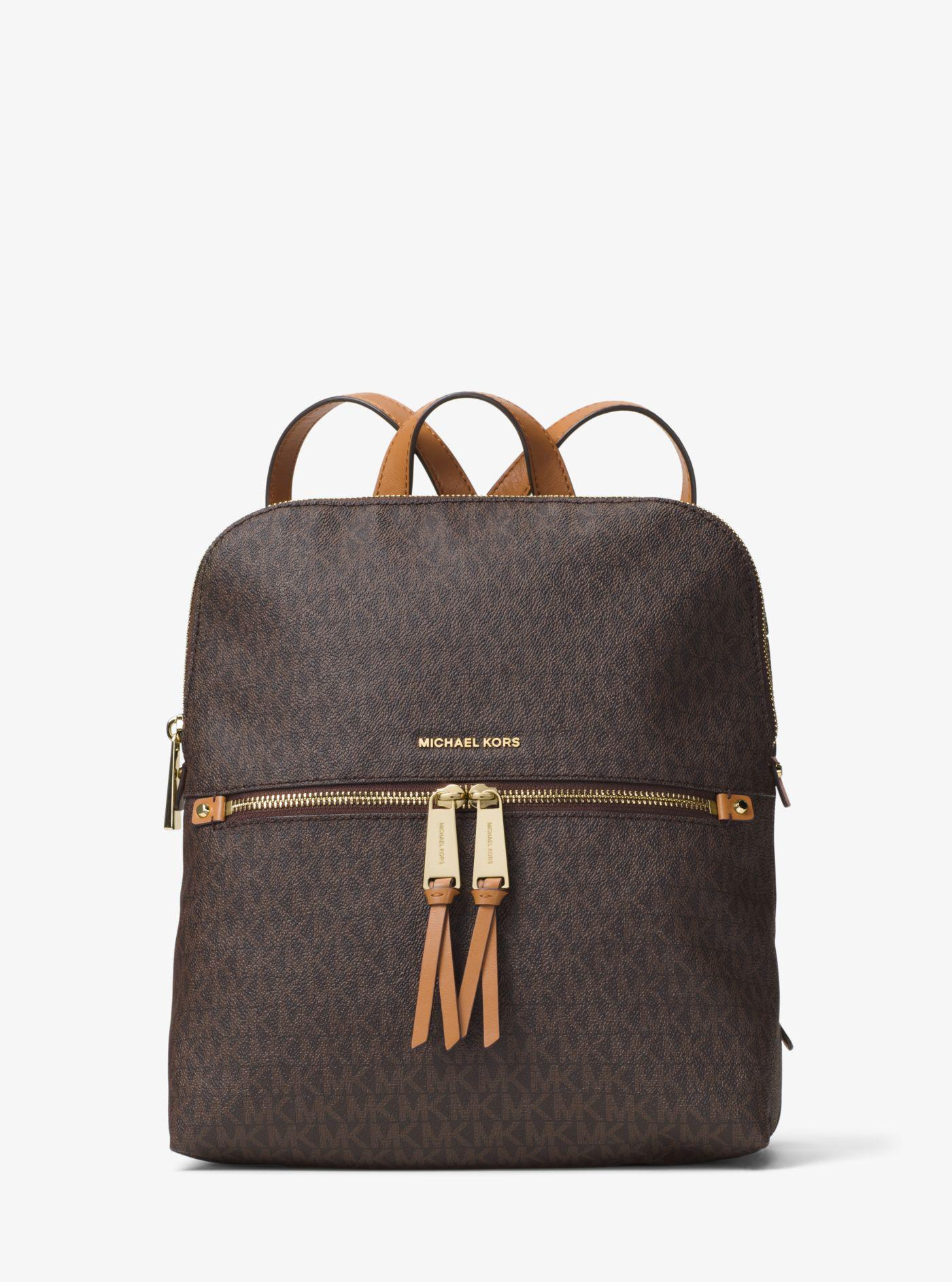 Michael Kors - Brown Rhea Medium Slim Logo Backpack - Lyst. View fullscreen e2d106e83e