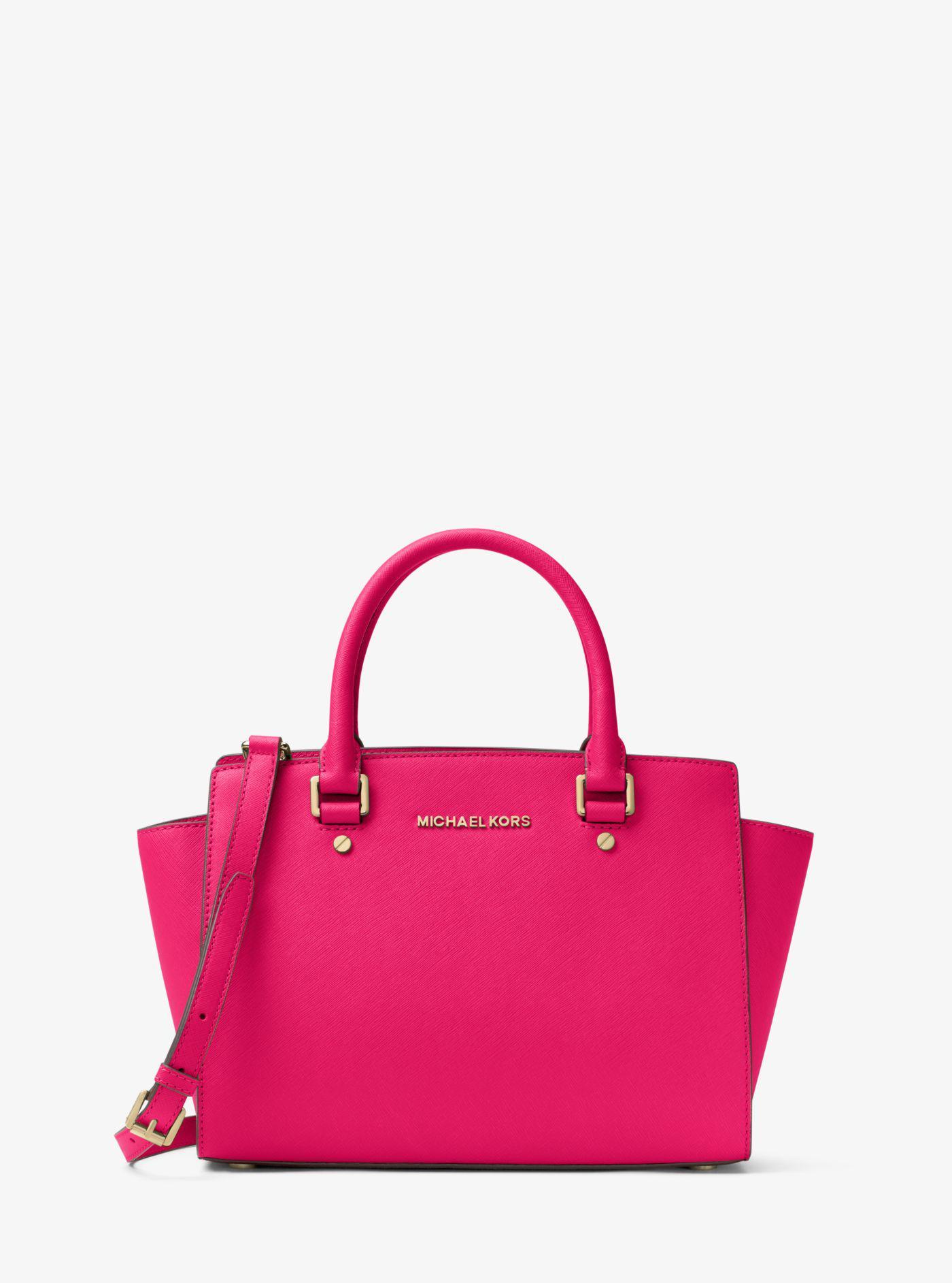 fe663408654c ... cheap michael kors pink selma saffiano leather medium satchel lyst.  view fullscreen ec637 f2ac1