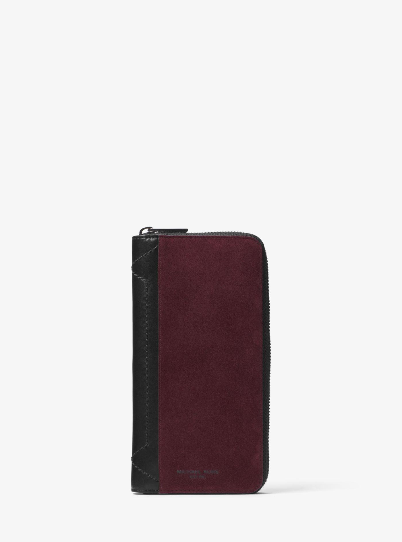 e612d4174bcf Lyst Michael Kors Henry Suede Zip Around Wallet In Purple For Men